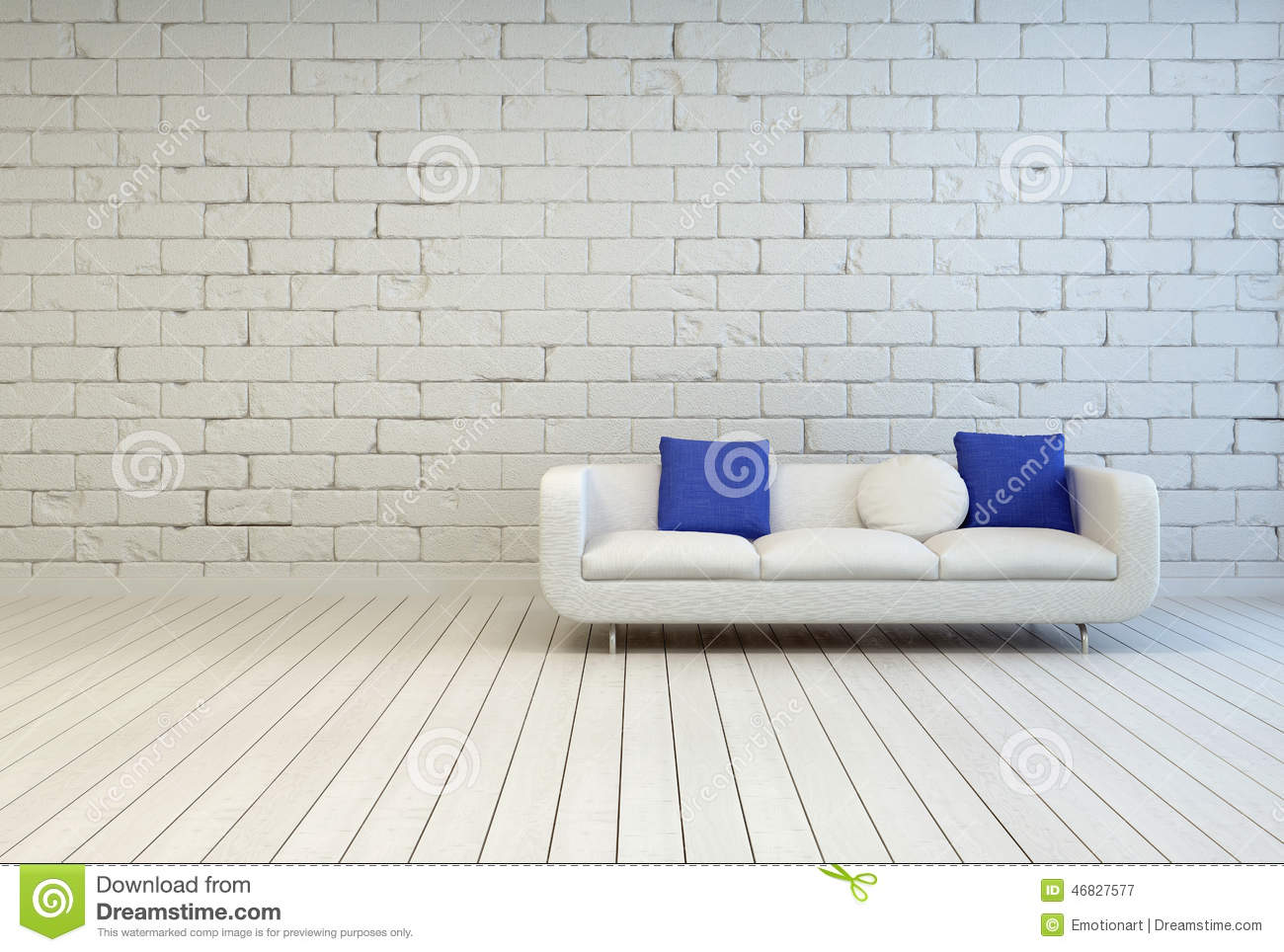 couch with white and blue pillows at living room stock