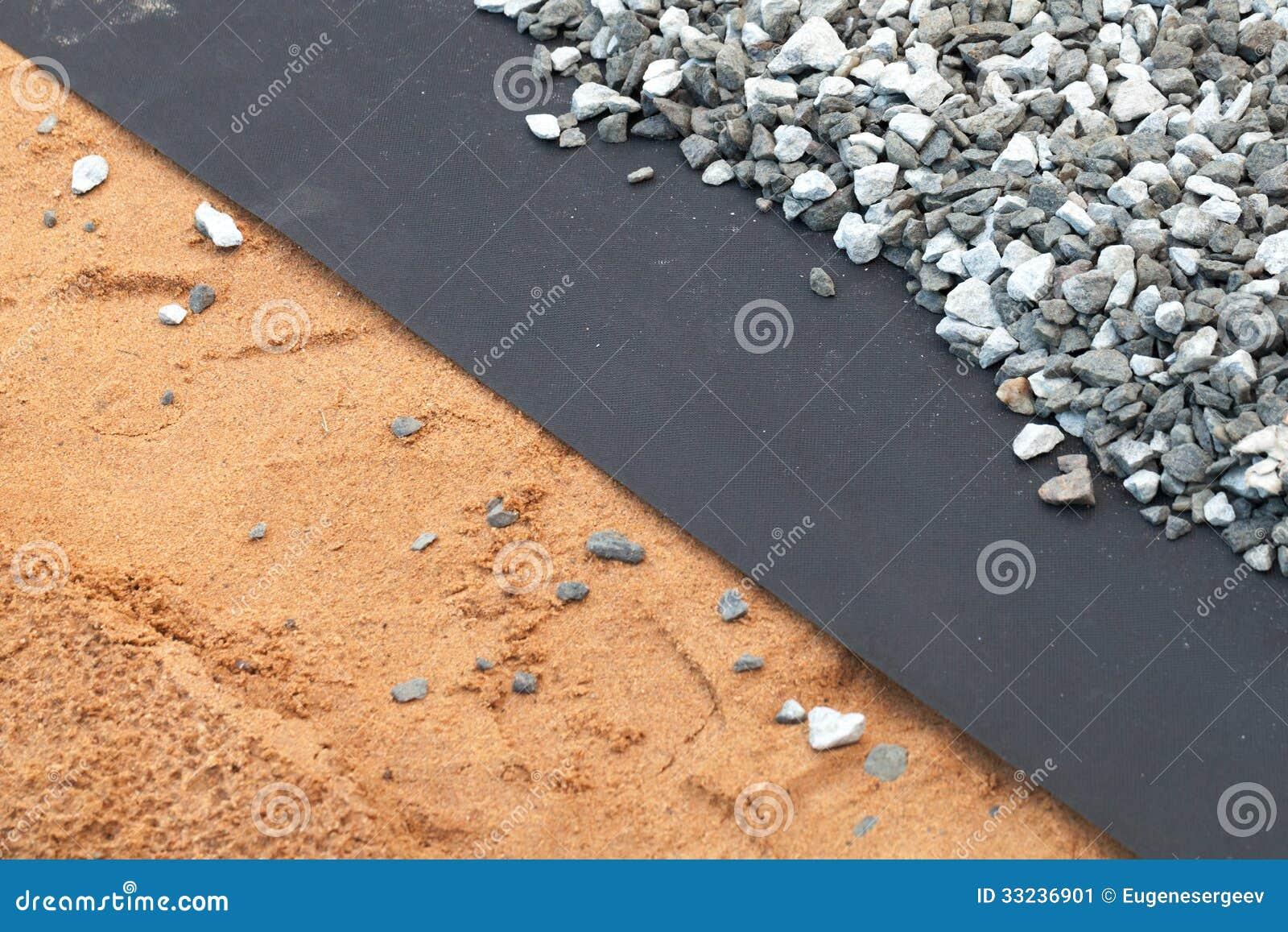 couche de g otextile entre le gravier et le sable gris. Black Bedroom Furniture Sets. Home Design Ideas