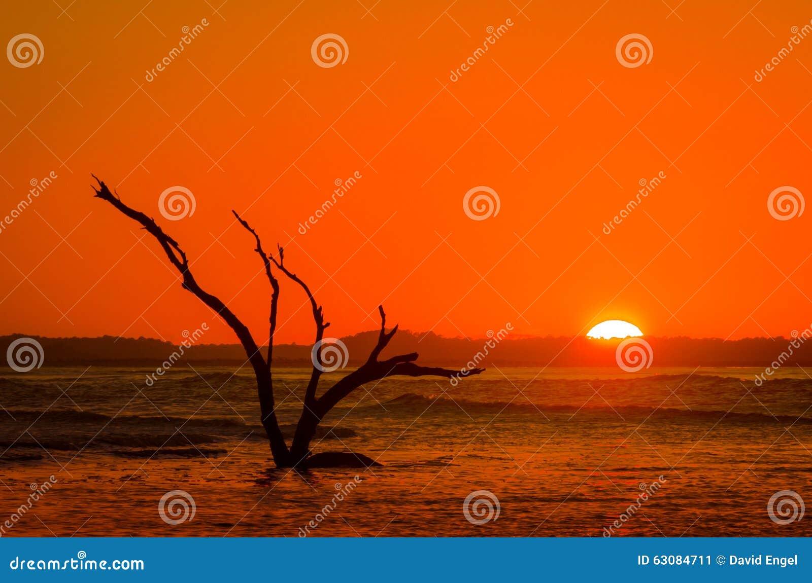 Download Coucher De Soleil Rouge-orange Avec La Silhouette à La Marée D'inondation Image stock - Image du reflux, ciel: 63084711