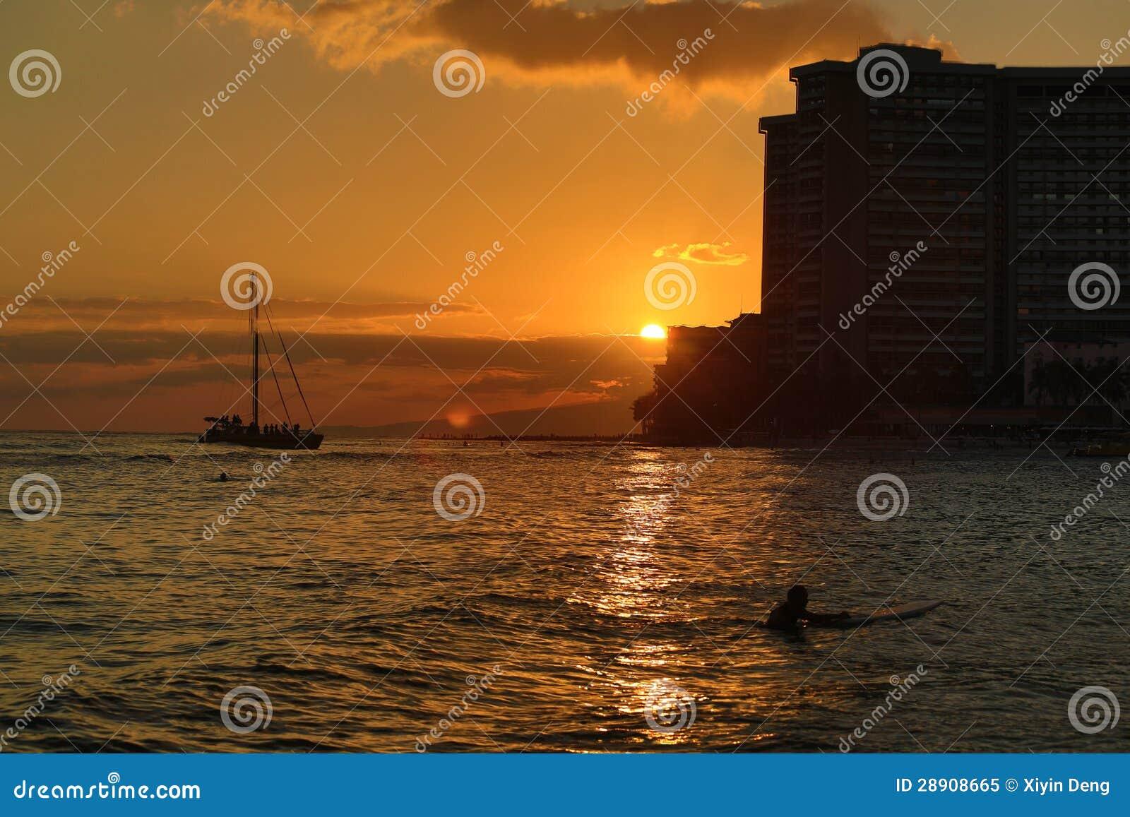 Coucher du soleil à la plage de waikiki