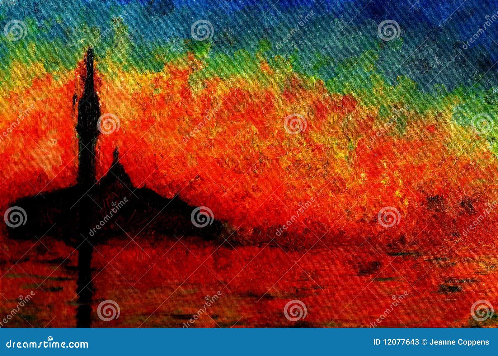 Coucher Du Soleil A Venise Peinture A L Huile Illustration Stock Illustration Du Coucher Peinture 12077643