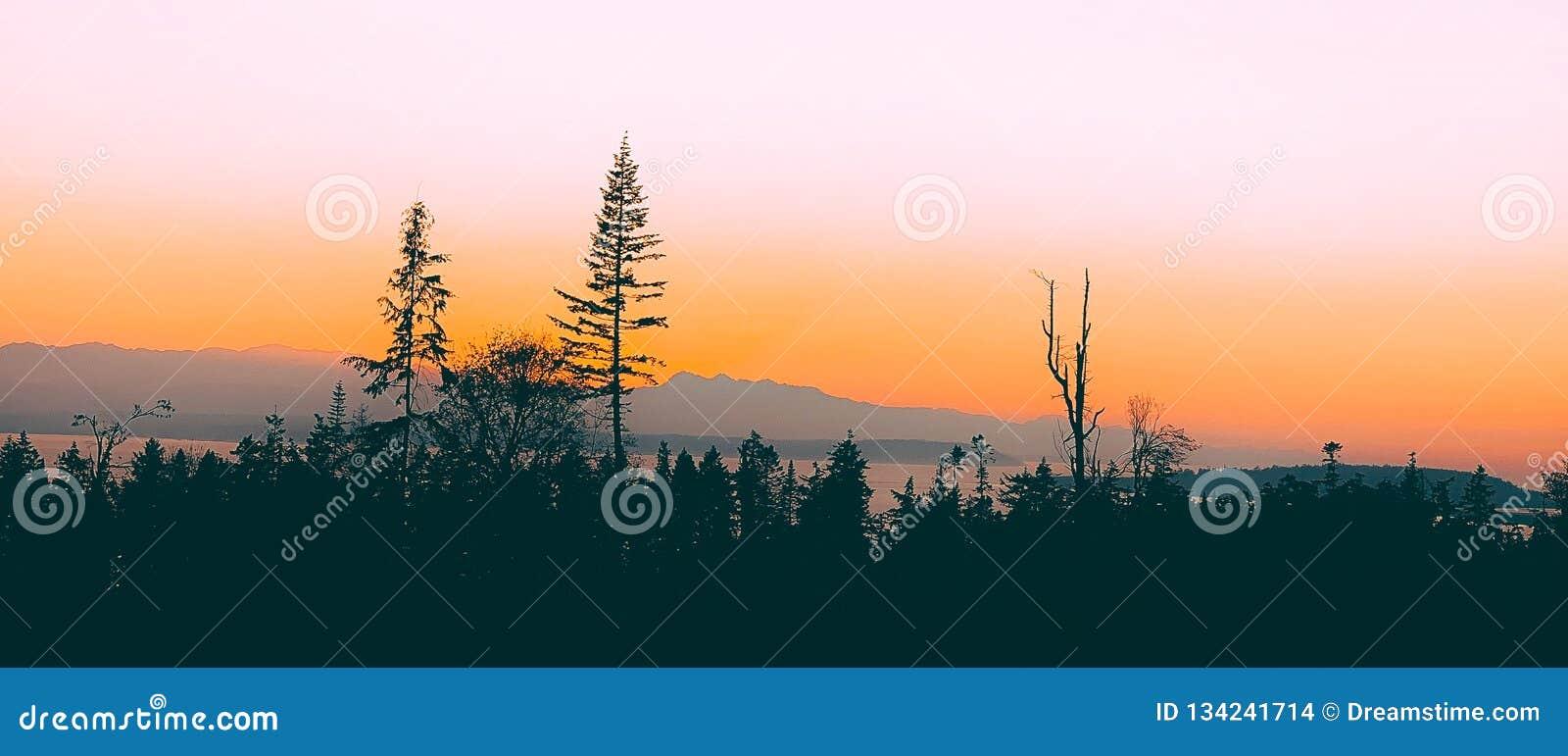 Coucher du soleil au-dessus d île de Whidbey