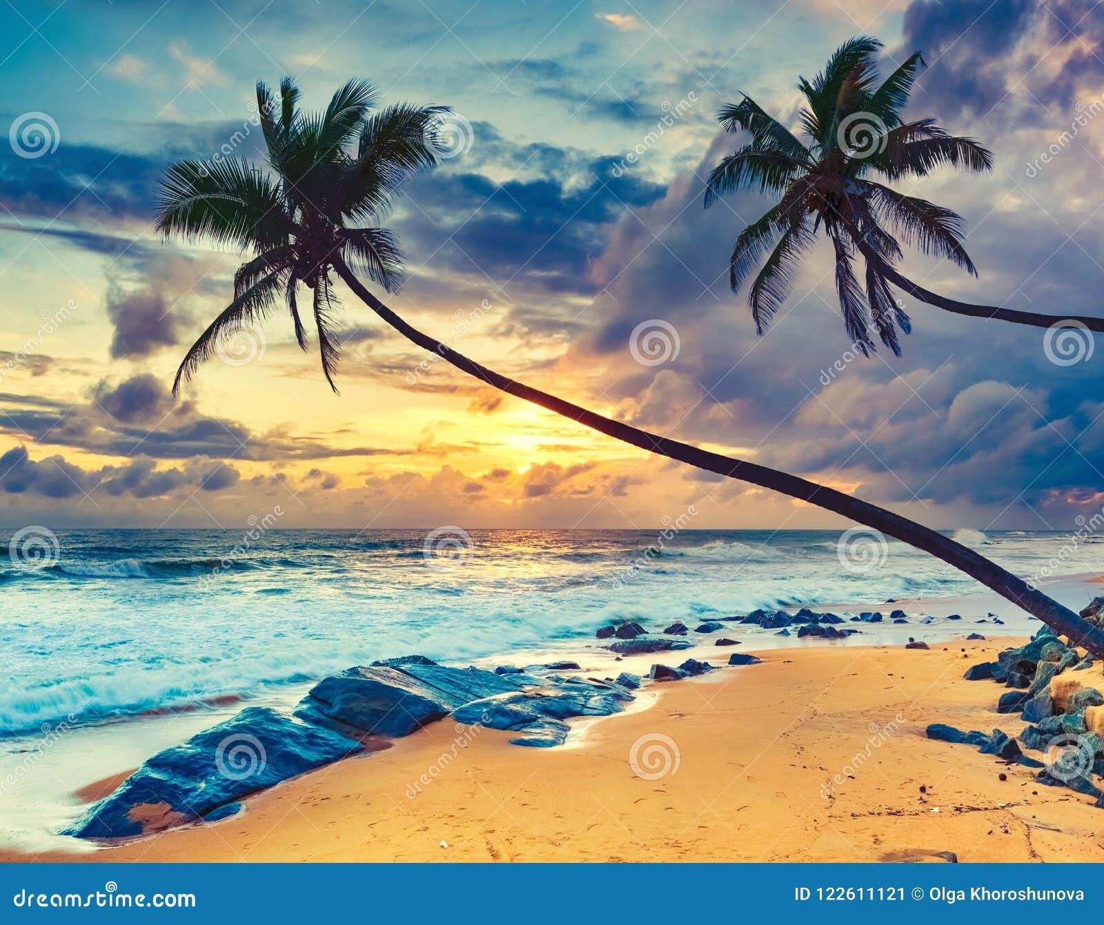 Coucher du soleil au-dessus de la mer Horizontal étonnant