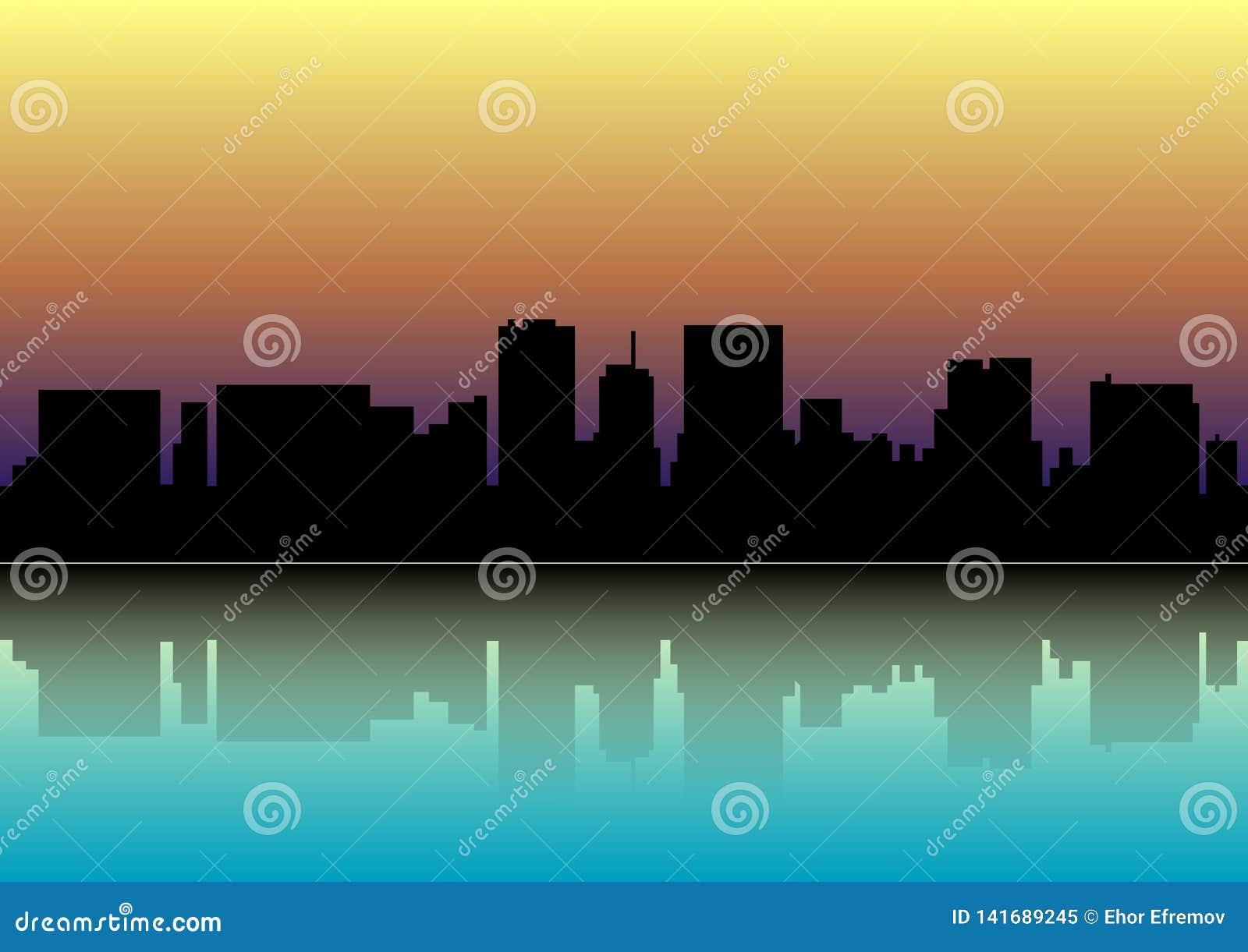 Coucher du soleil au-dessus de la ville Silhouette de la ville au coucher du soleil