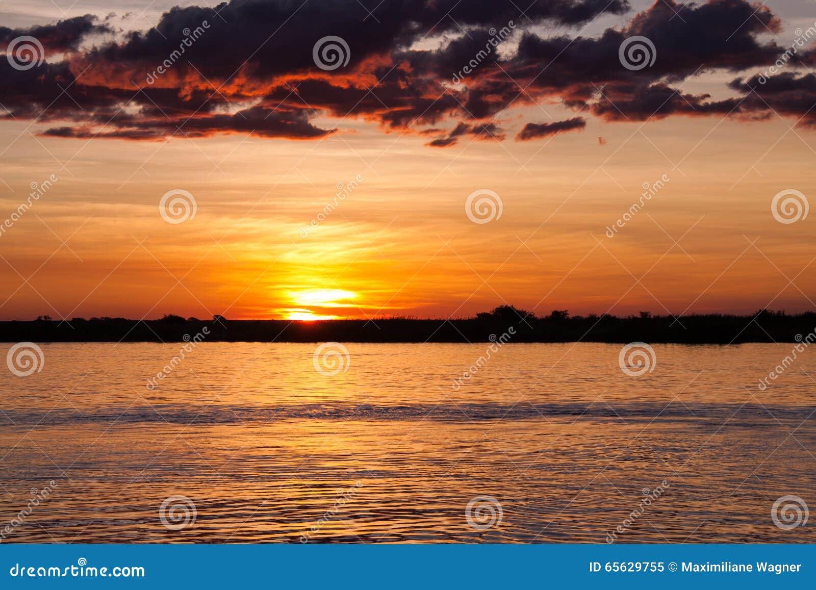 Coucher du soleil au-dessus de rivière de Chobe, Botswana