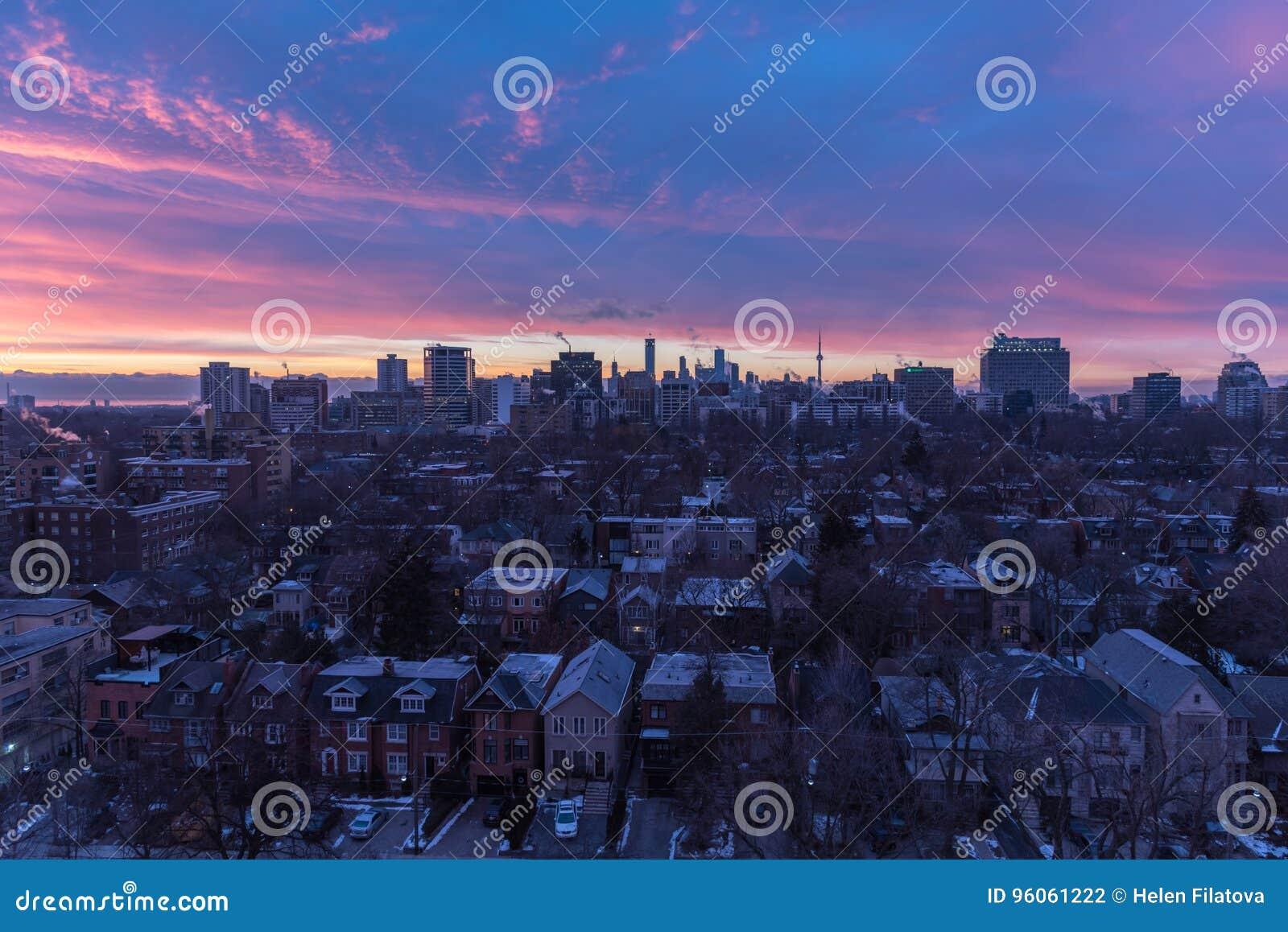 Coucher du soleil au-dessus de Toronto