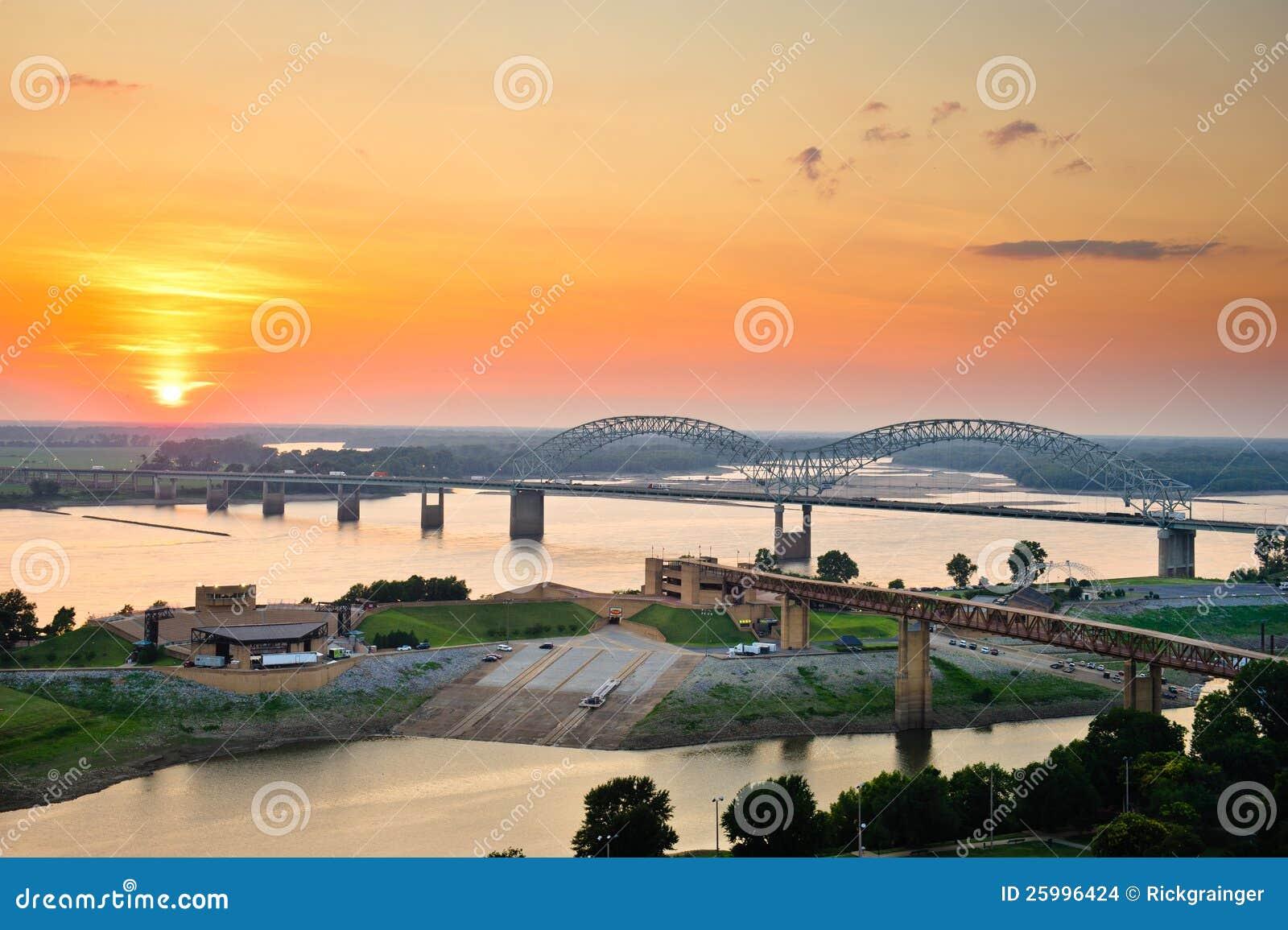 Coucher du soleil au-dessus du Fleuve Mississippi