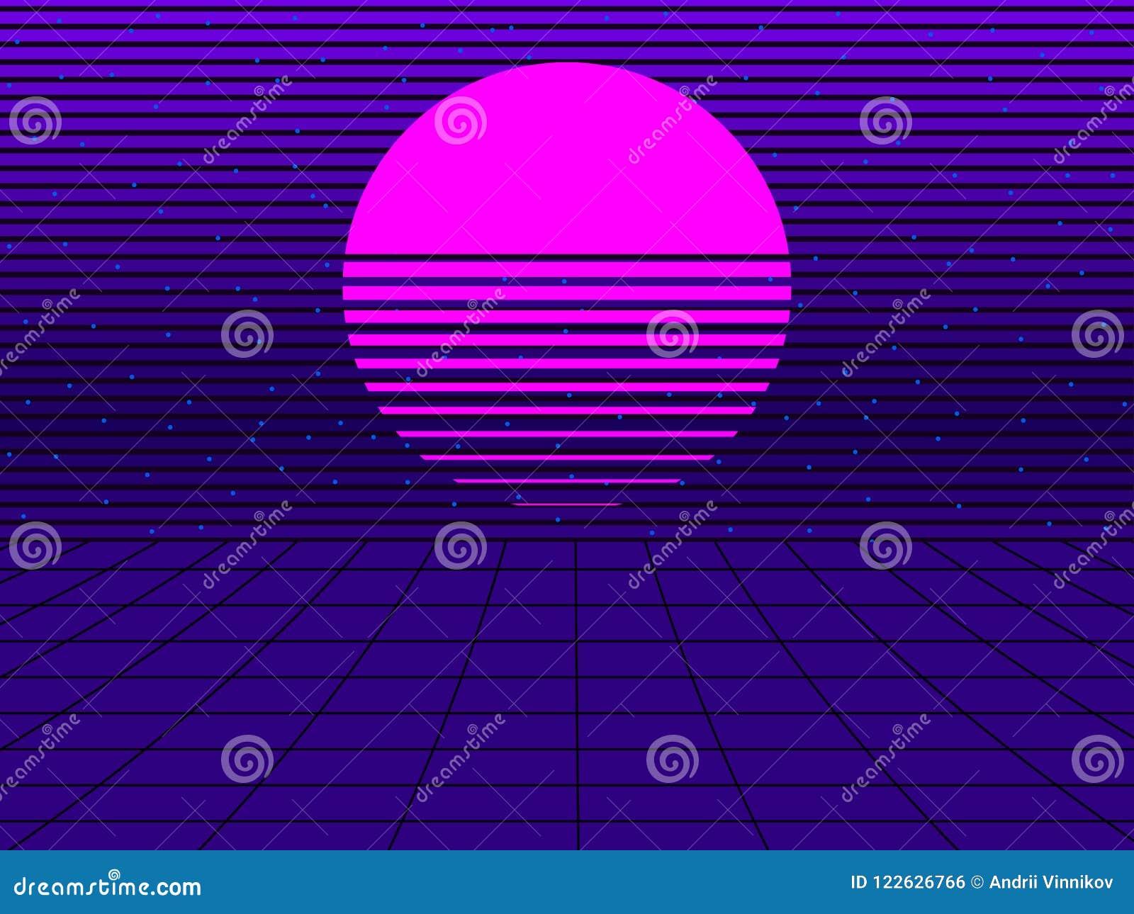 Coucher du soleil au néon dans le style de 80s Rétro fond futuriste de Synthwave Retrowave Vecteur