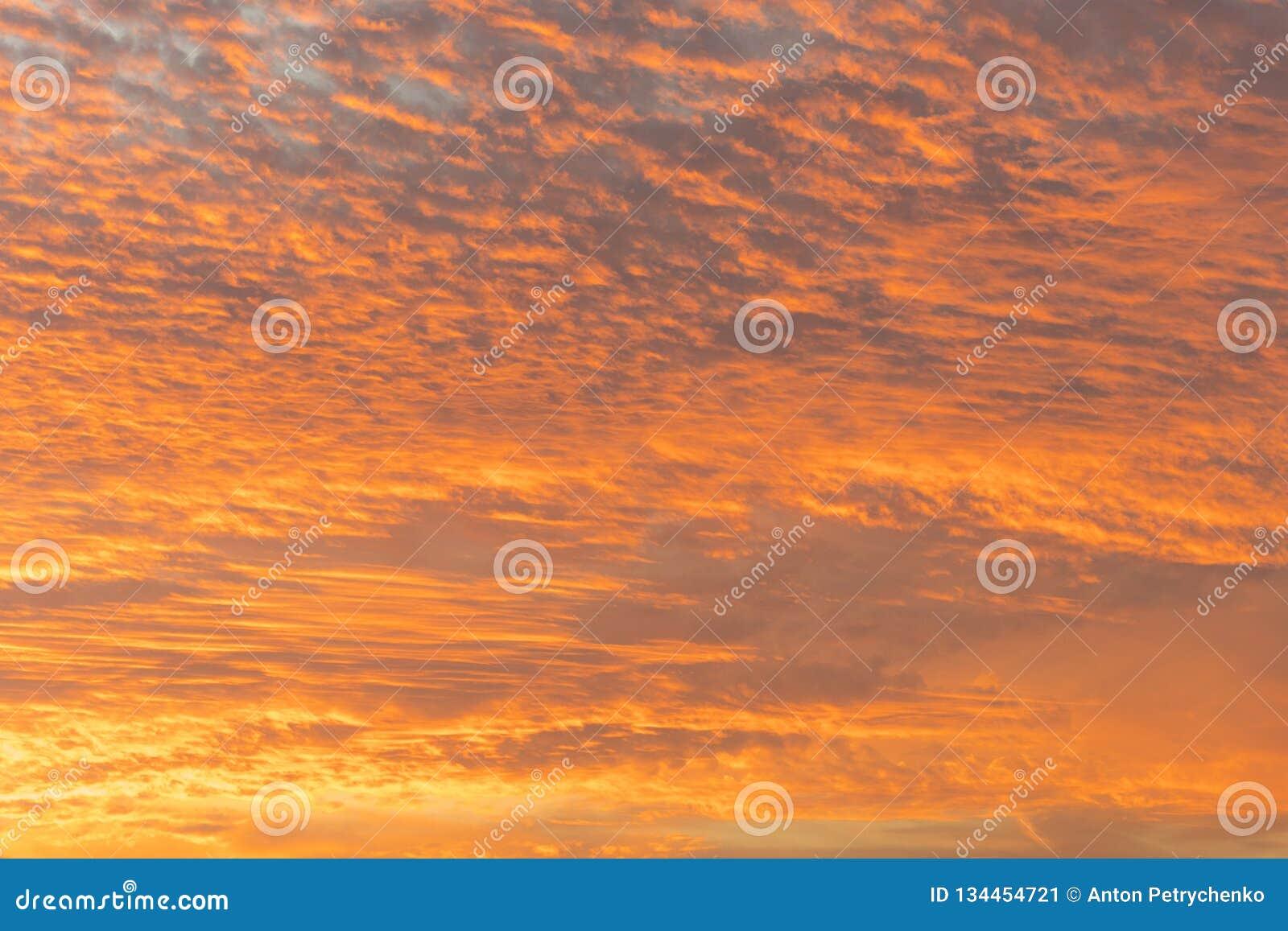Coucher du soleil avec le ciel orange Ciel orange et jaune vibrant lumineux chaud de coucher du soleil de couleurs Coucher du sol