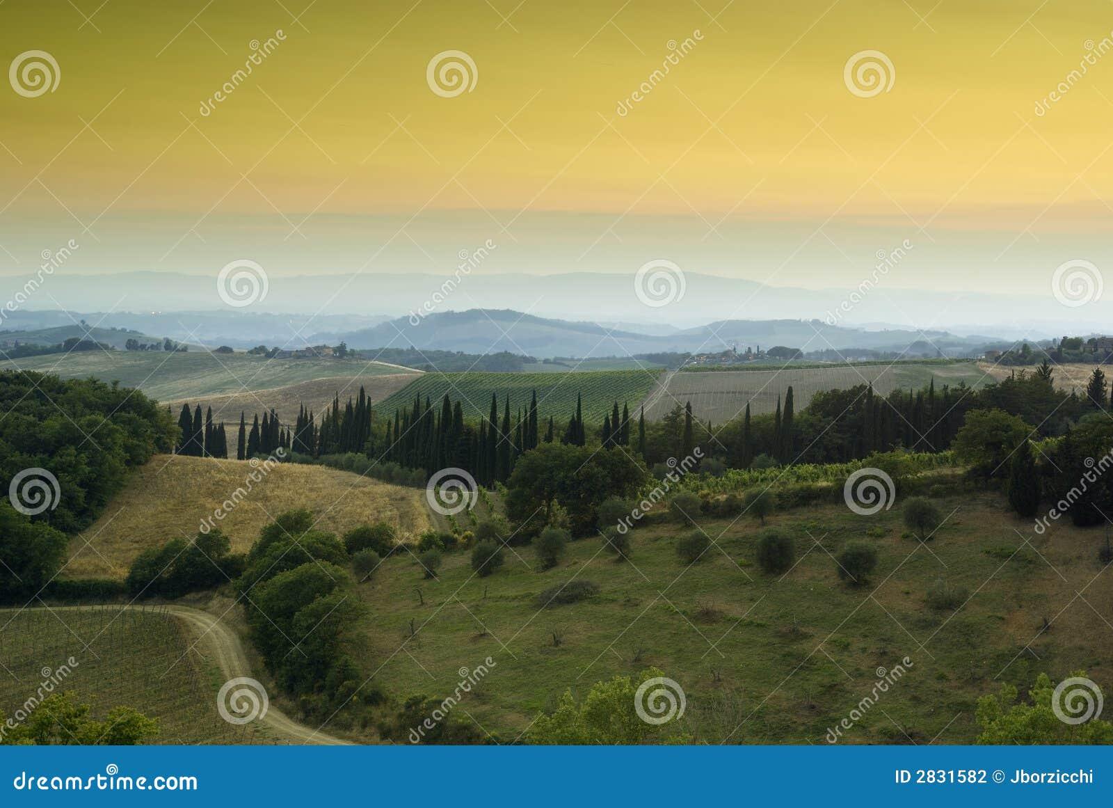 Coucher du soleil dans Chianti, Toscane