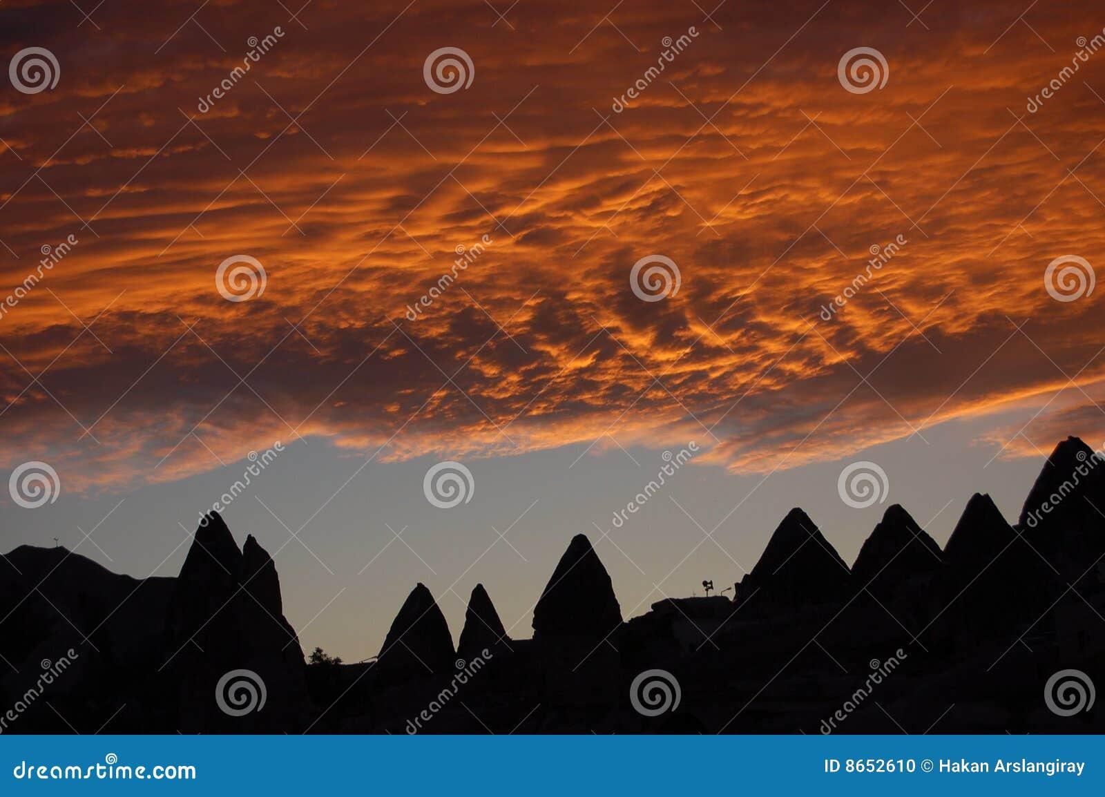 Coucher du soleil dans le cappadocia