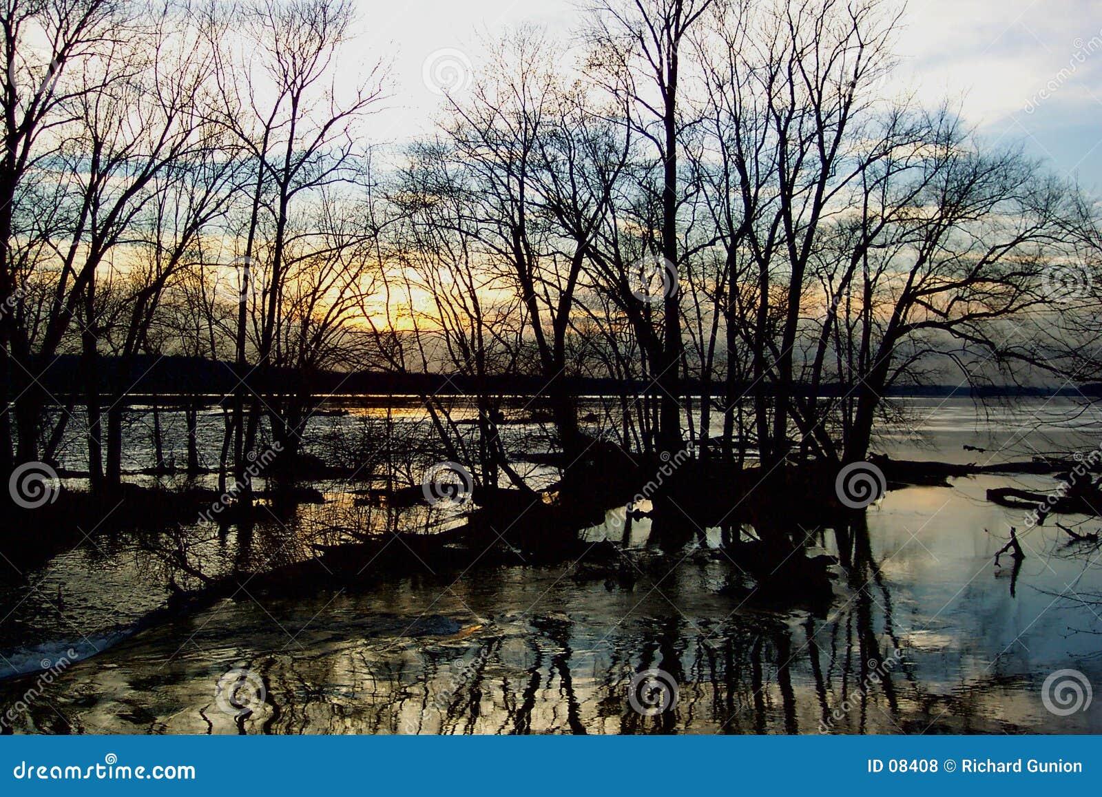 Coucher du soleil de fleuve Potomac