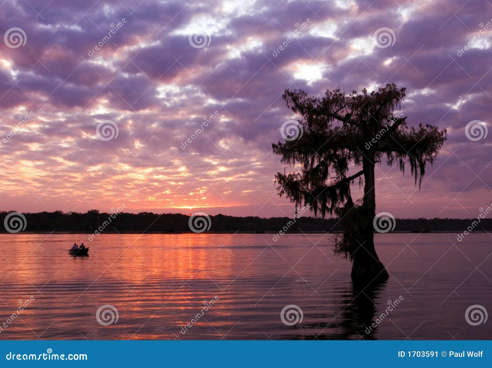 Coucher du soleil de Martin de lac