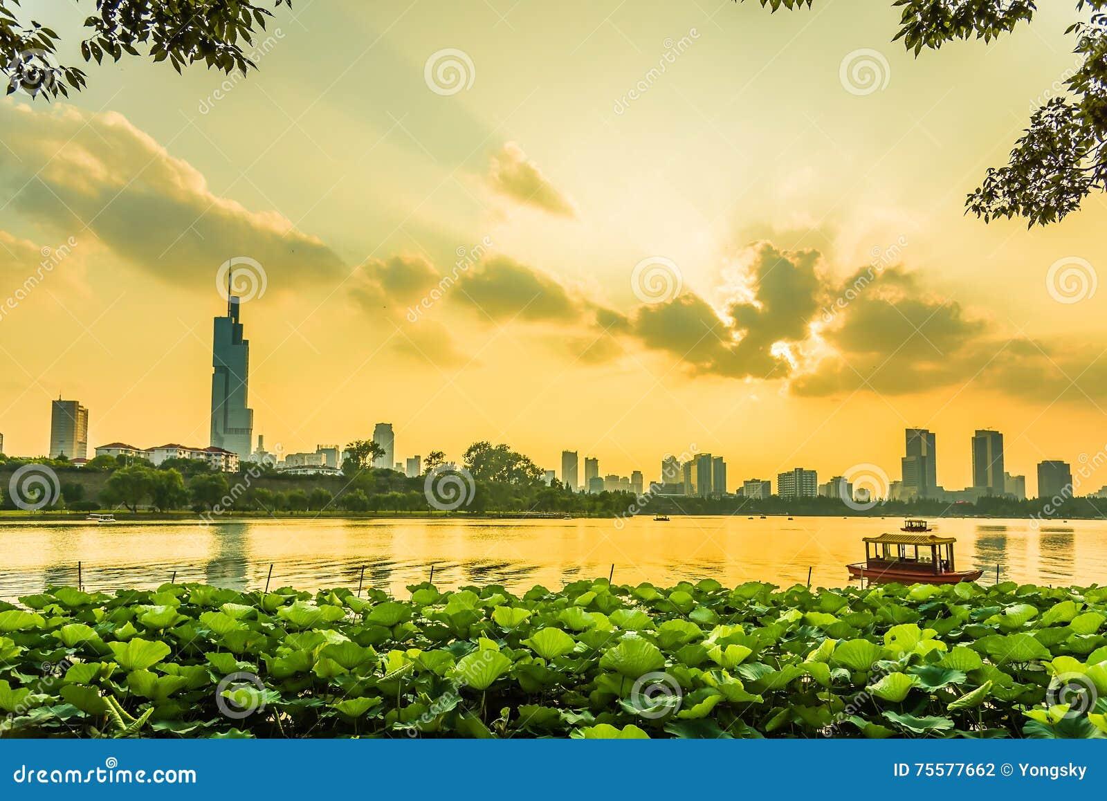 Coucher du soleil de Nanjing