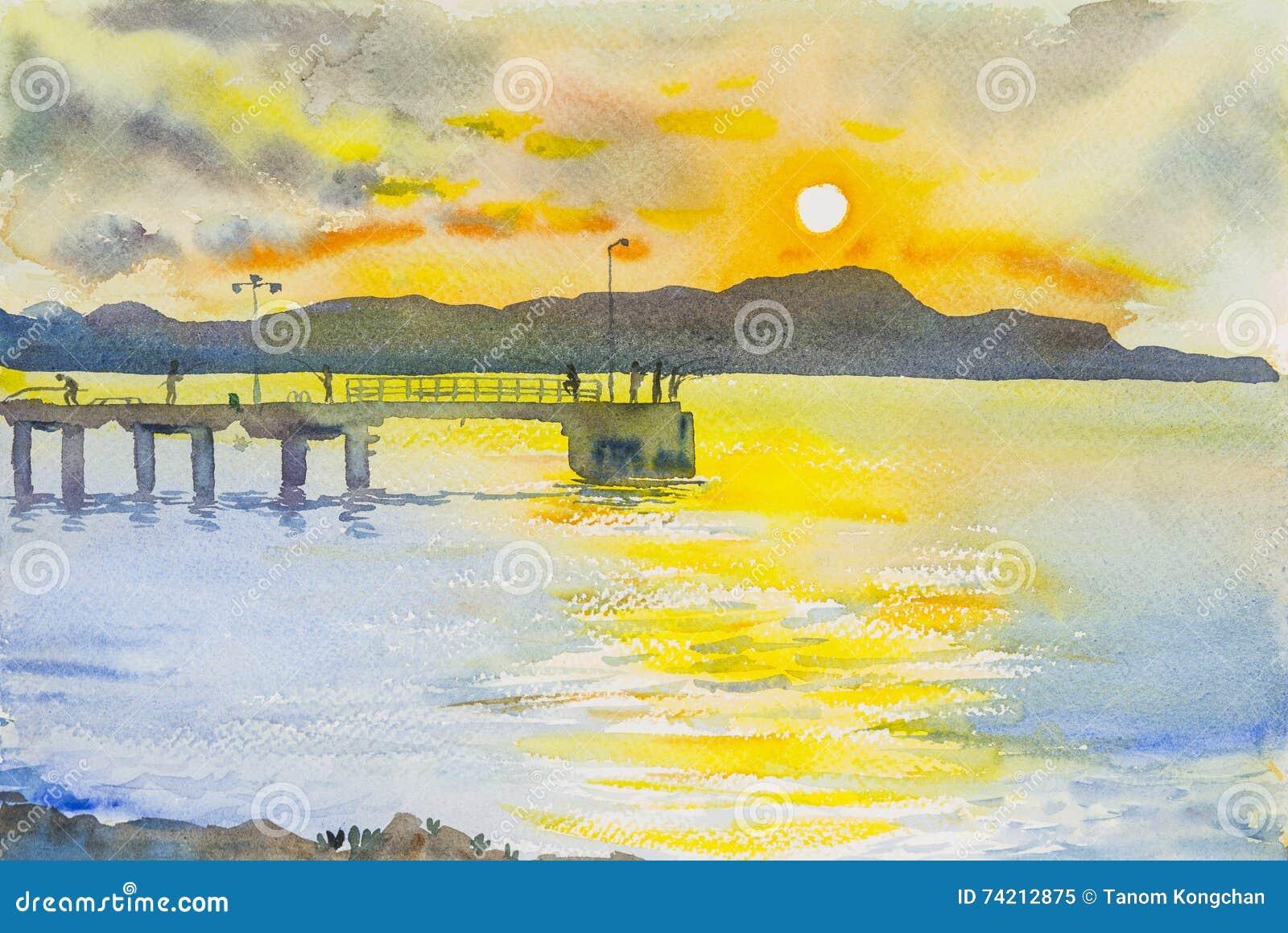 Coucher du soleil de peinture de paysage marin coloré de la montagne et de l émotion