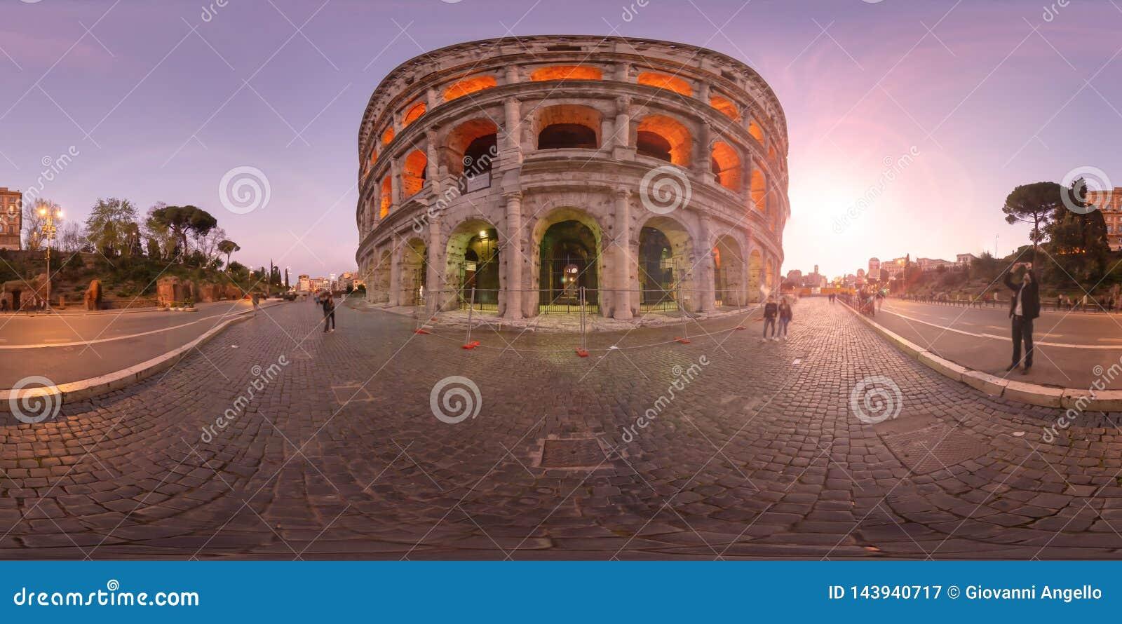 Coucher du soleil de réalité virtuelle de 360 degrés à Rome Colosseum Italie