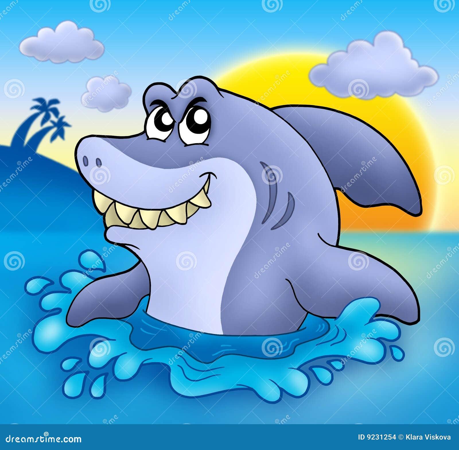 Coucher du soleil de requin de dessin anim illustration stock illustration du poissons - Modele dessin requin ...