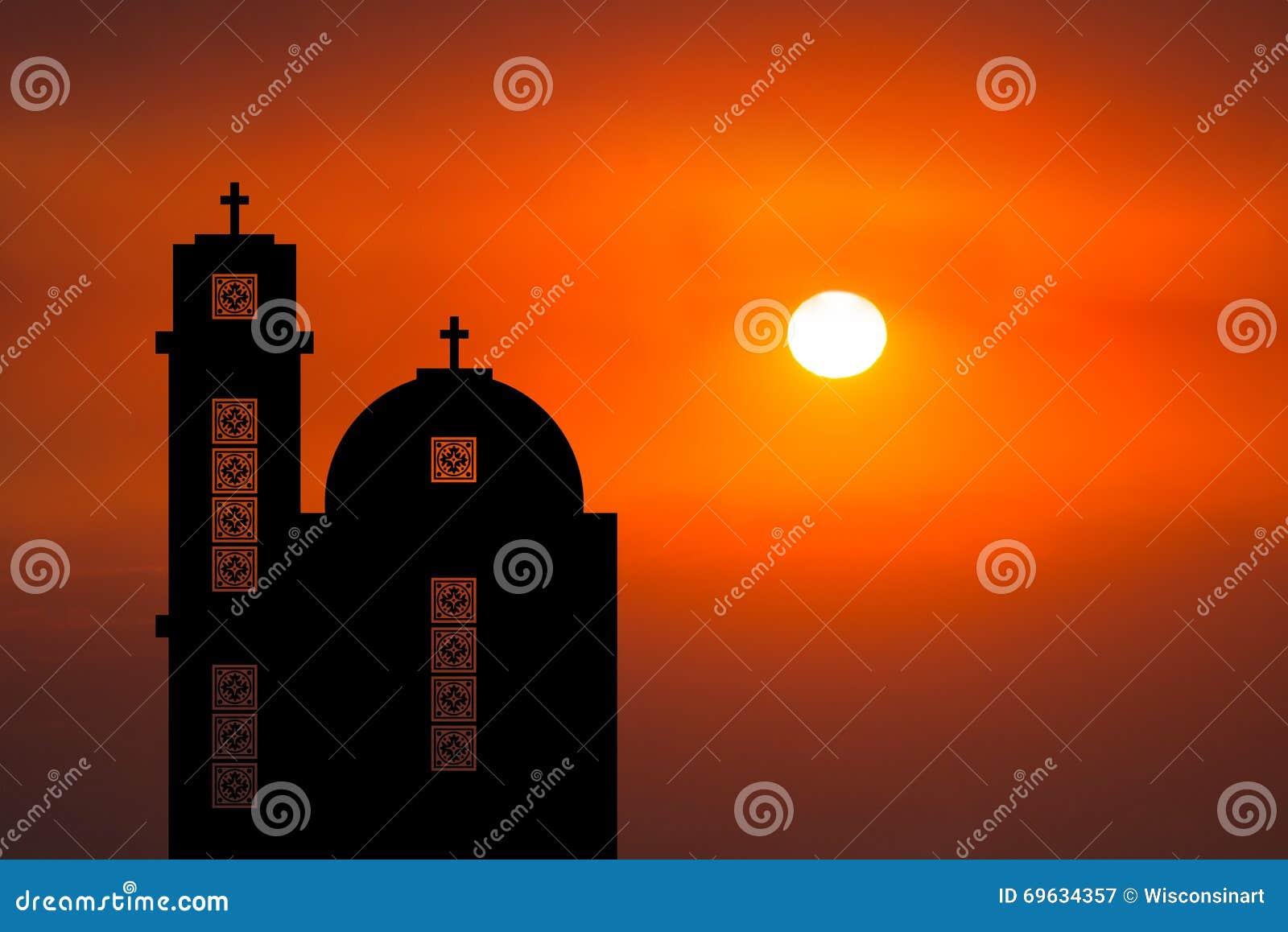 Coucher du soleil du Moyen-Orient de lever de soleil d église