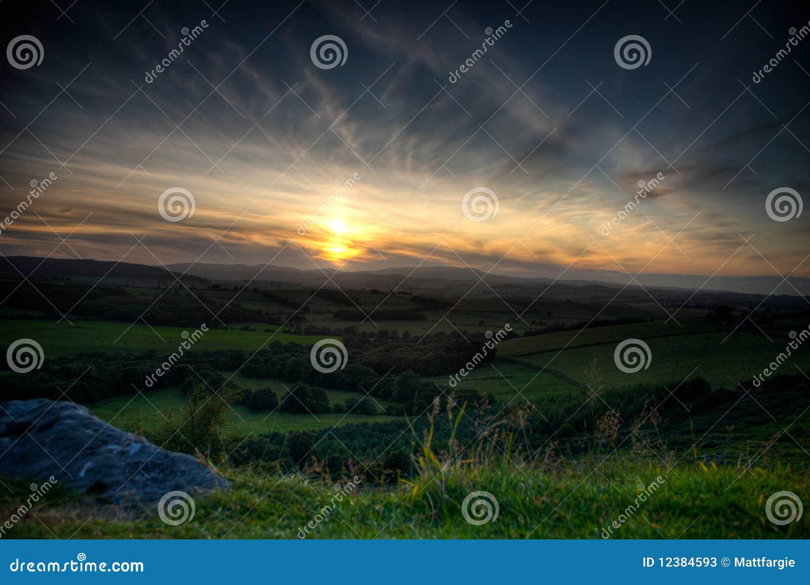 Coucher du soleil du Northumberland