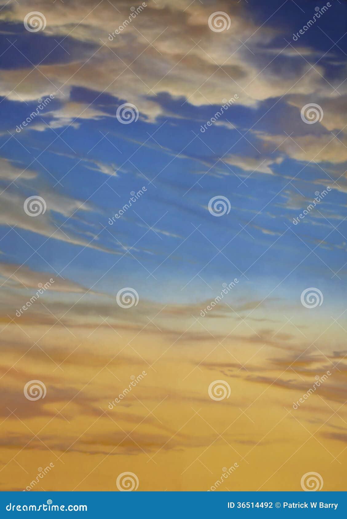 Coucher du soleil et ciel bleu