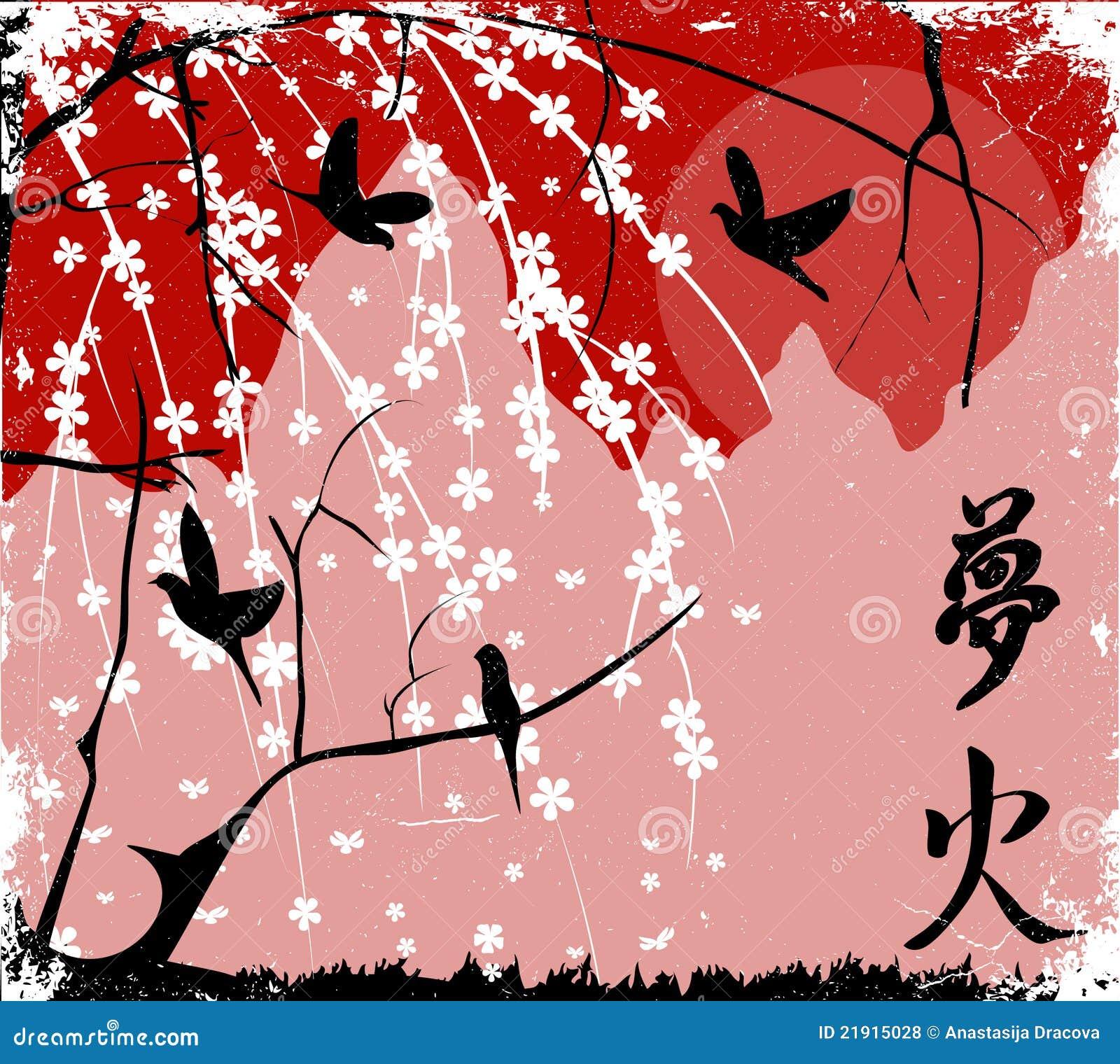 Coucher du soleil japonais cerisier photos libres de - Cerisier en fleur dessin ...