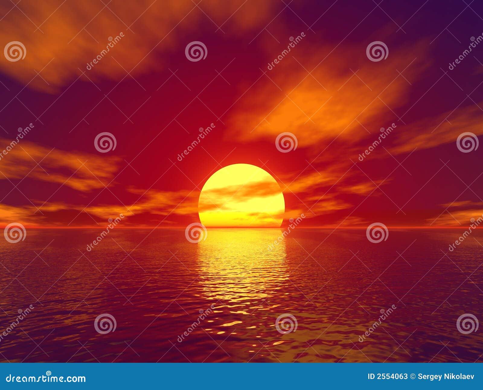 Coucher du soleil rouge