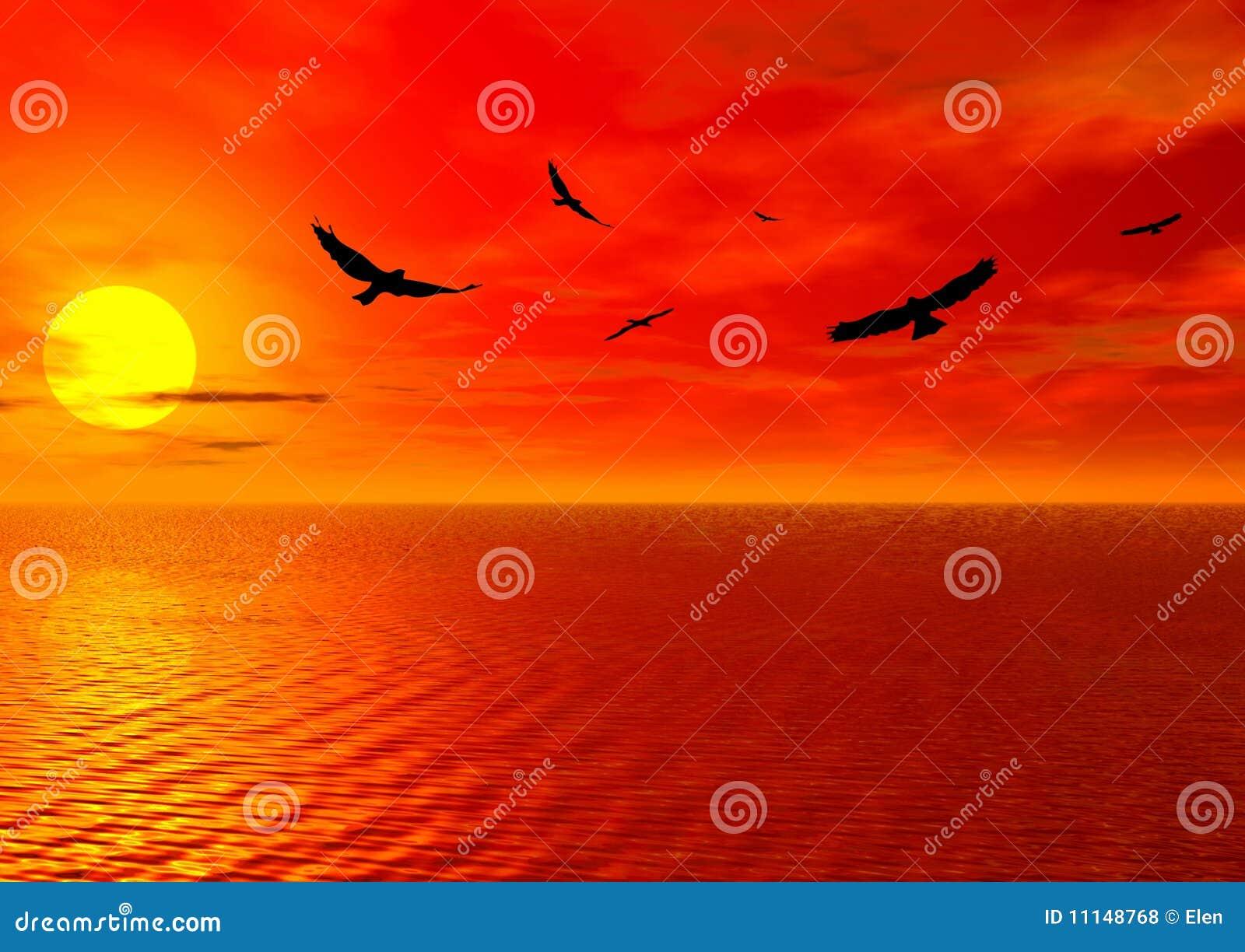Coucher du soleil rouge et oiseaux illustration stock - Coucher de soleil dessin ...