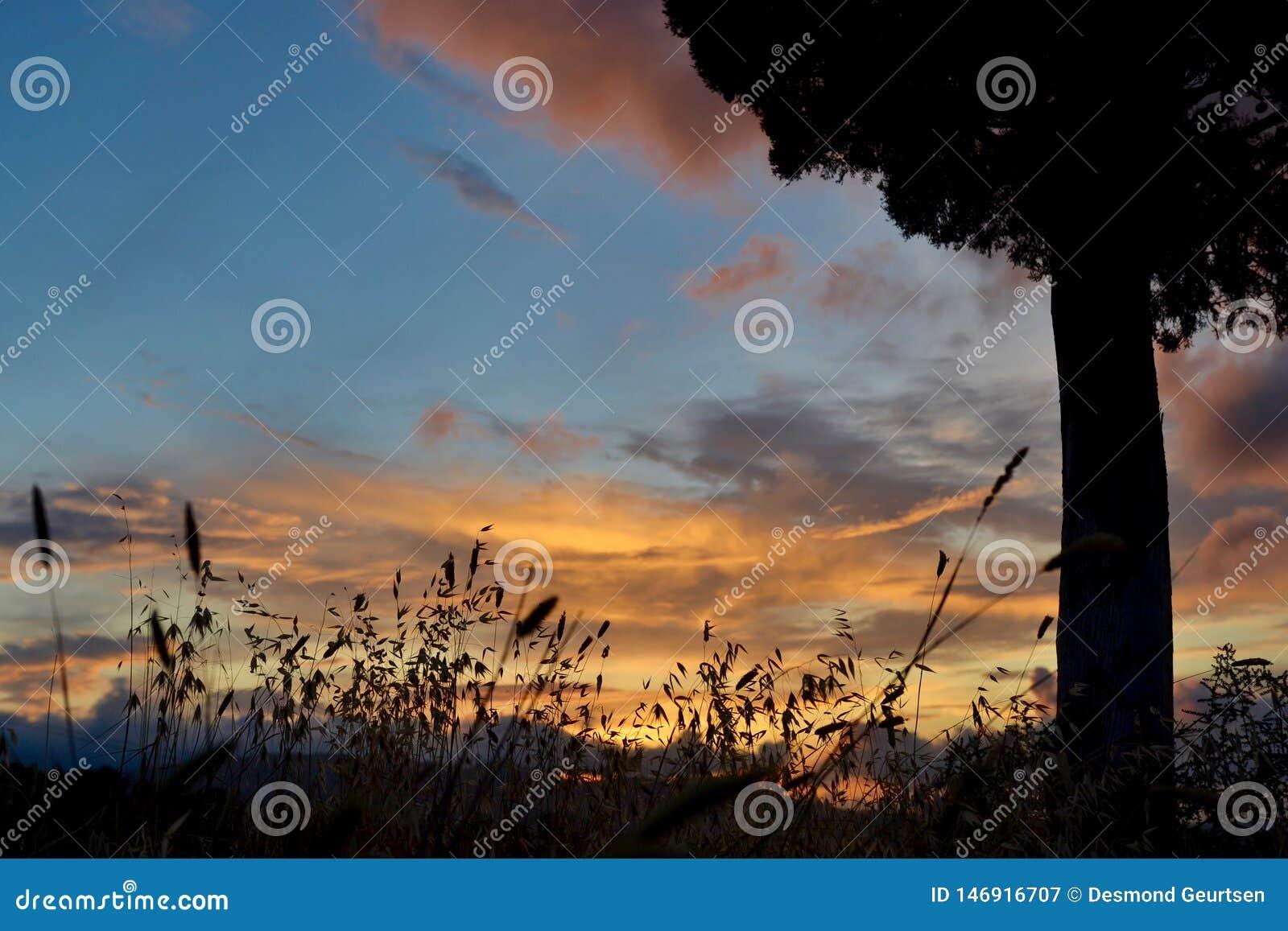 Coucher du soleil sous le ciel toscan