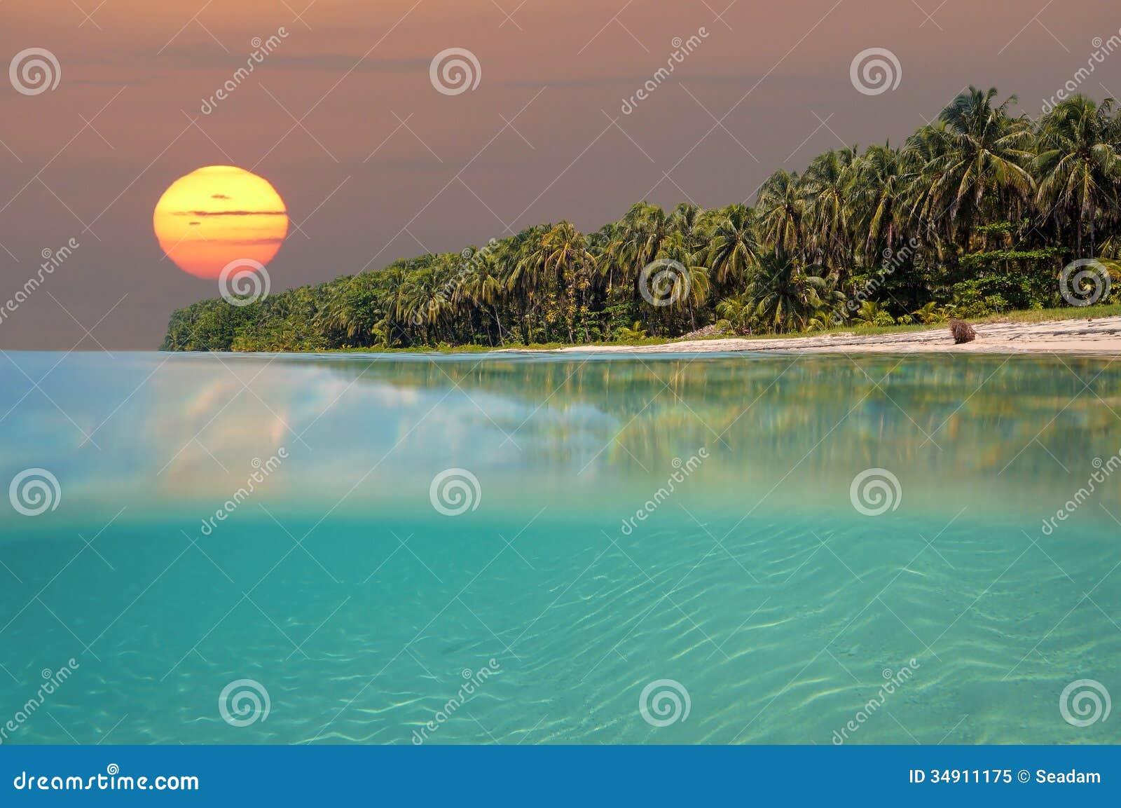 Coucher du soleil sur l île tropicale de plage