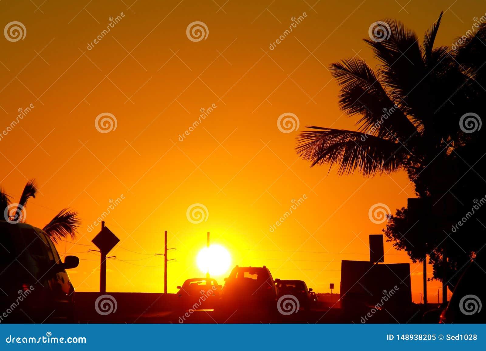 Coucher du soleil sur le pont de Sept-mille, marathon, FL