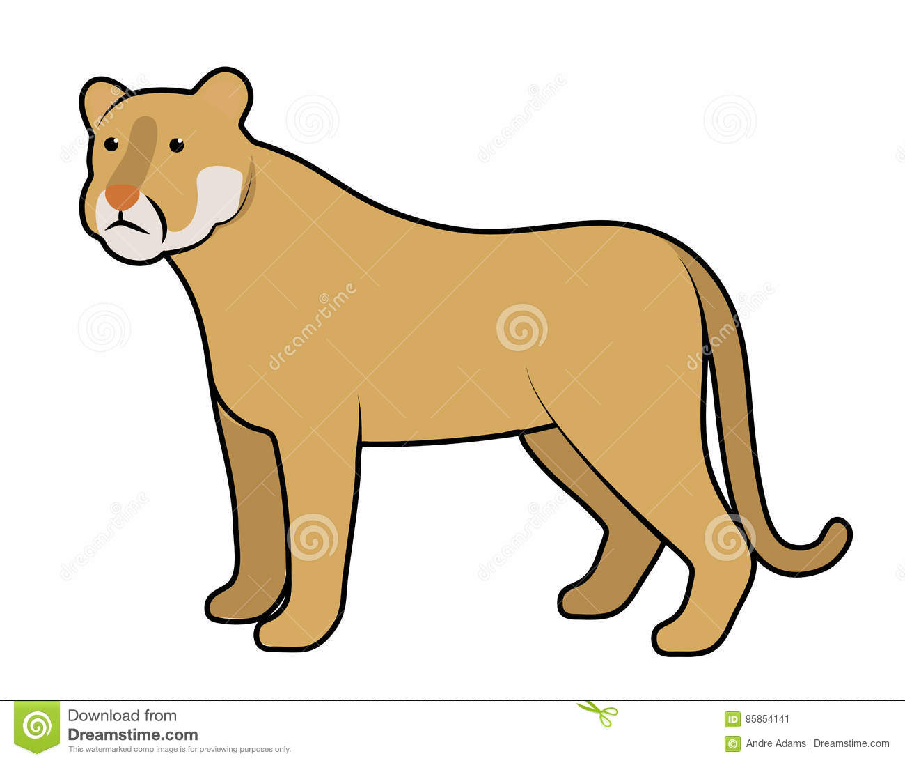 cougar mountain lion stock vector illustration of vector 95854141 rh dreamstime com