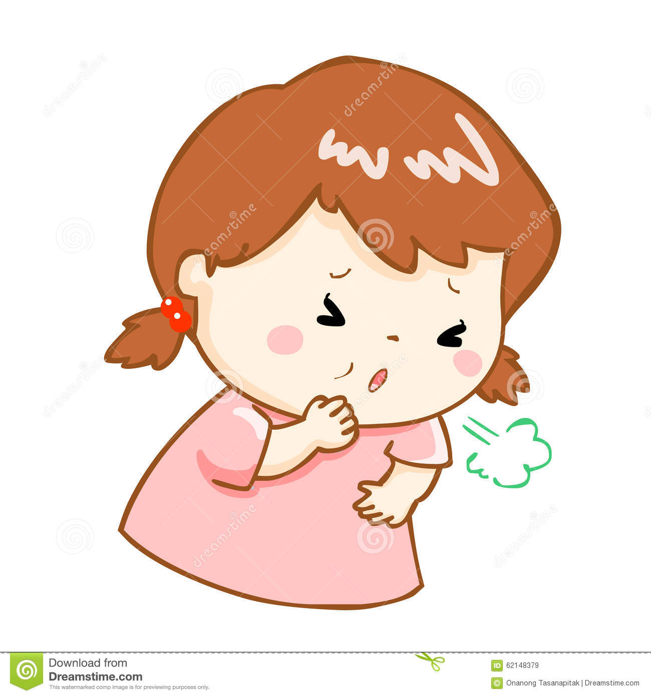 Coughing Girl Cartoon Illustration Stock Vector - Image: 62148379