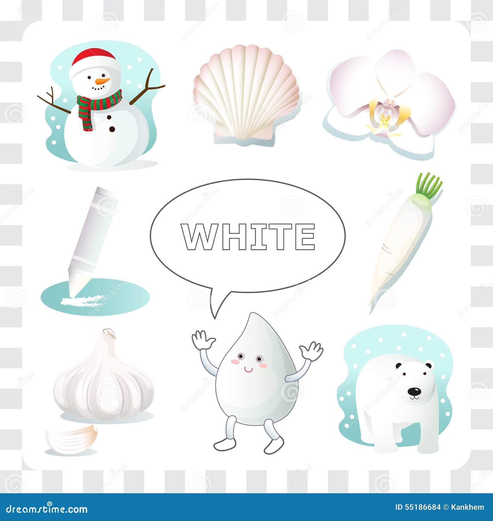 Couleur Qui Sont Des Choses couleur blanche illustration de vecteur. illustration du seashell