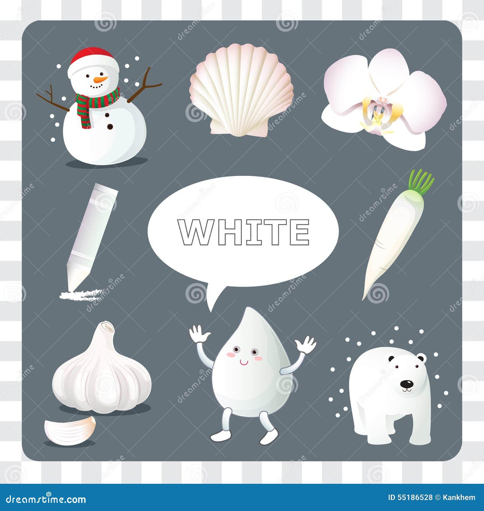 Couleur Qui Sont Des Choses couleur blanche sur le fond gris illustration de vecteur
