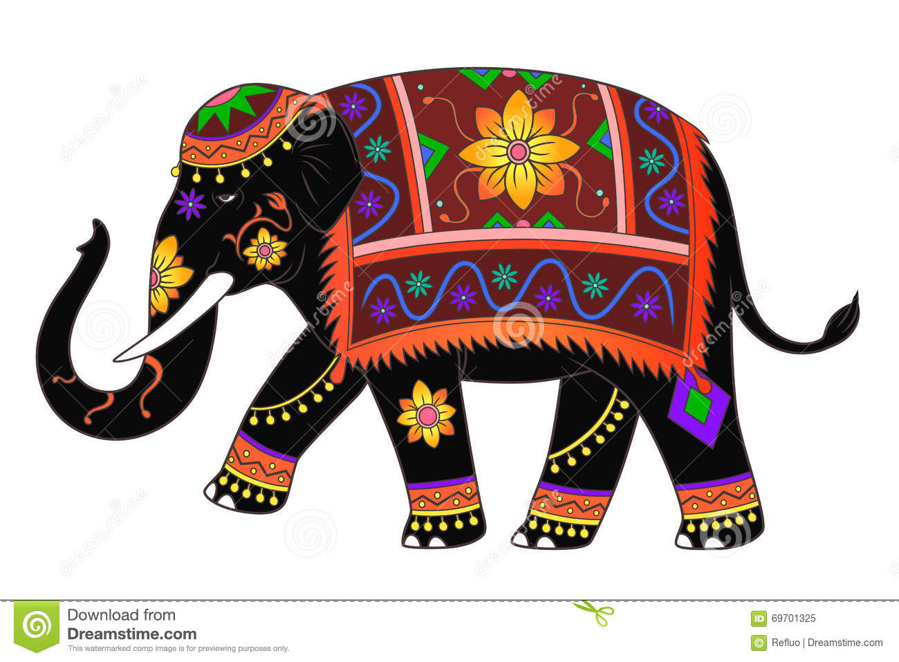 Couleur D Elephant D Asie Illustration De Vecteur Illustration Du