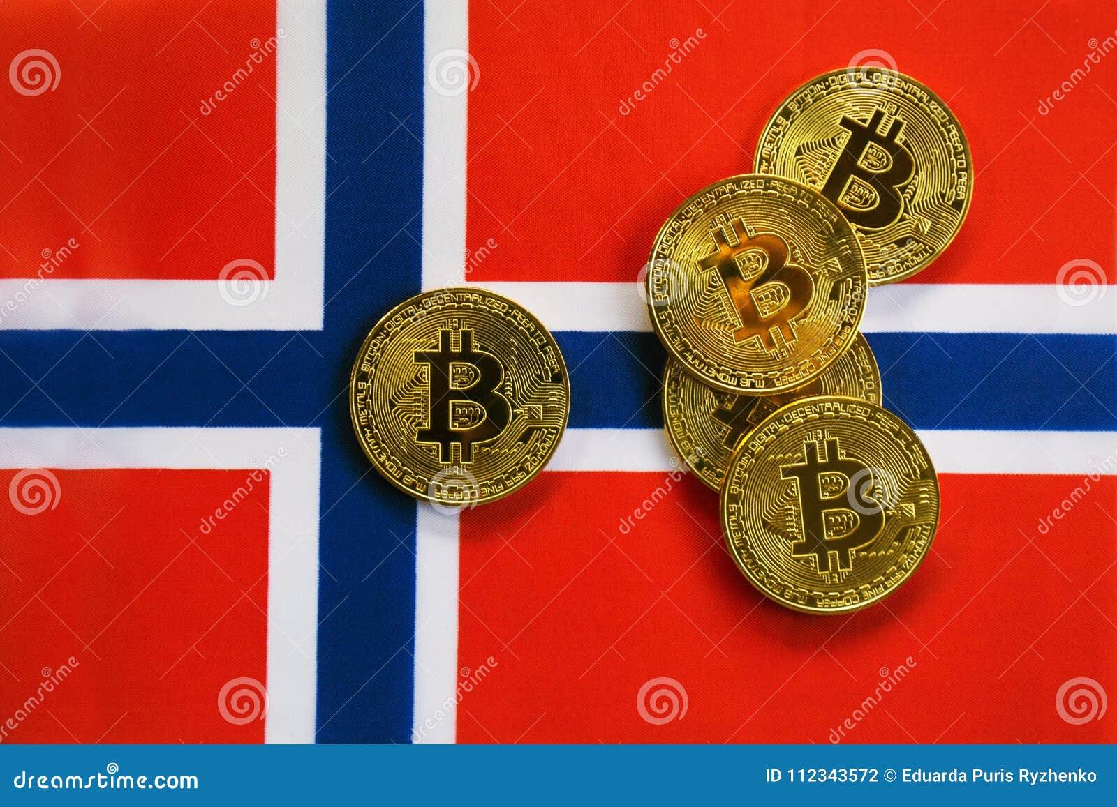 Couleur d or de Bitcoin sur le drapeau de la Norvège