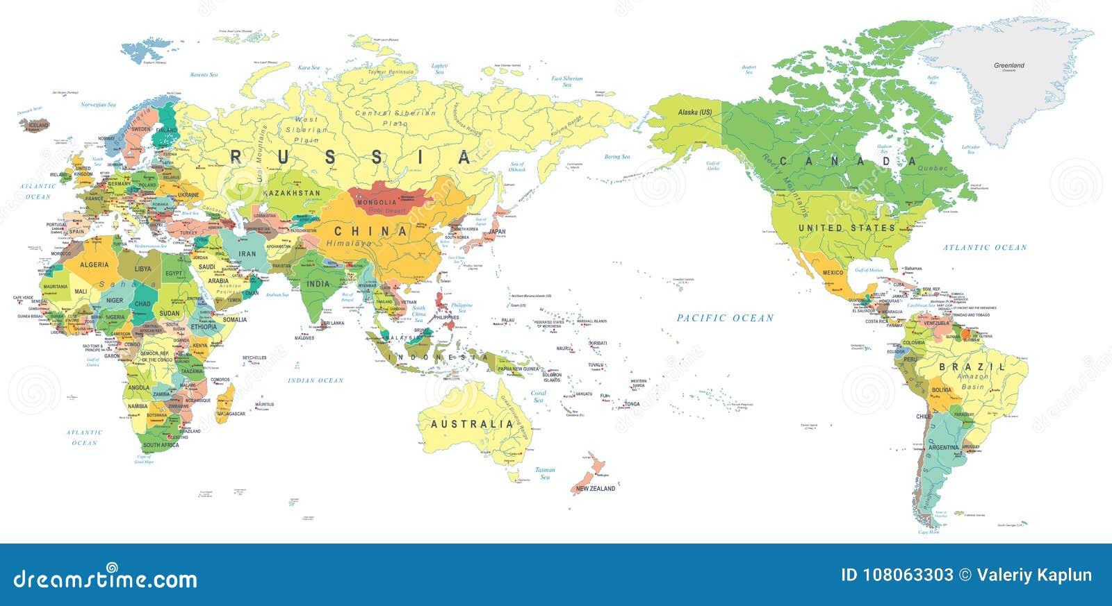 Carte Asie Monde.Couleur De Carte Du Monde Asie Au Centre Illustration