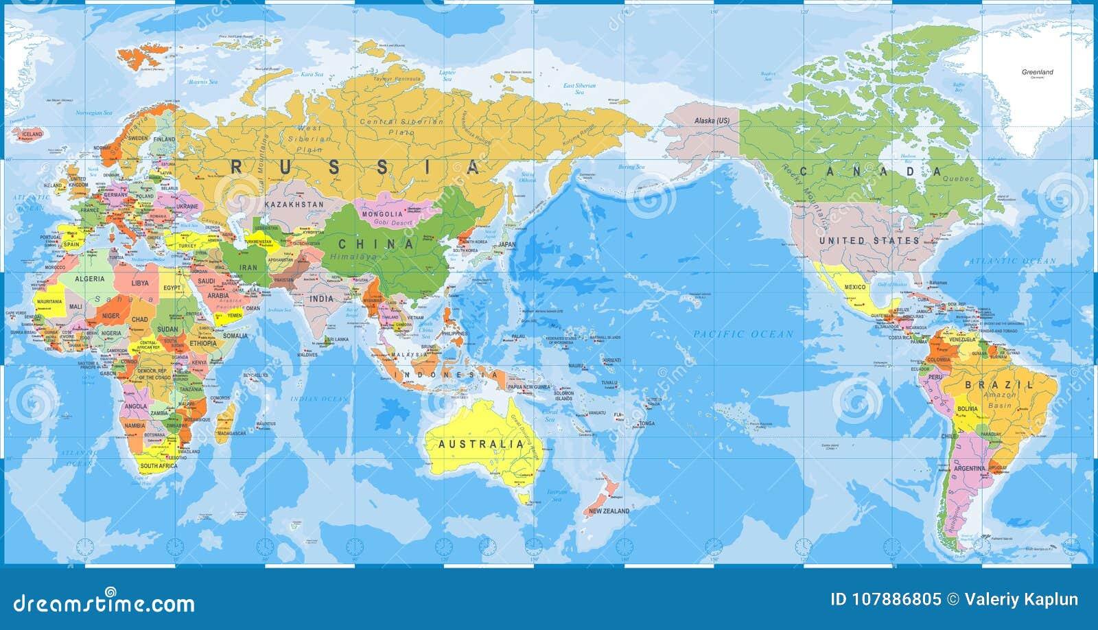 Carte Du Monde Détaillée couleur de carte du monde détaillée - l'asie au centre illustration