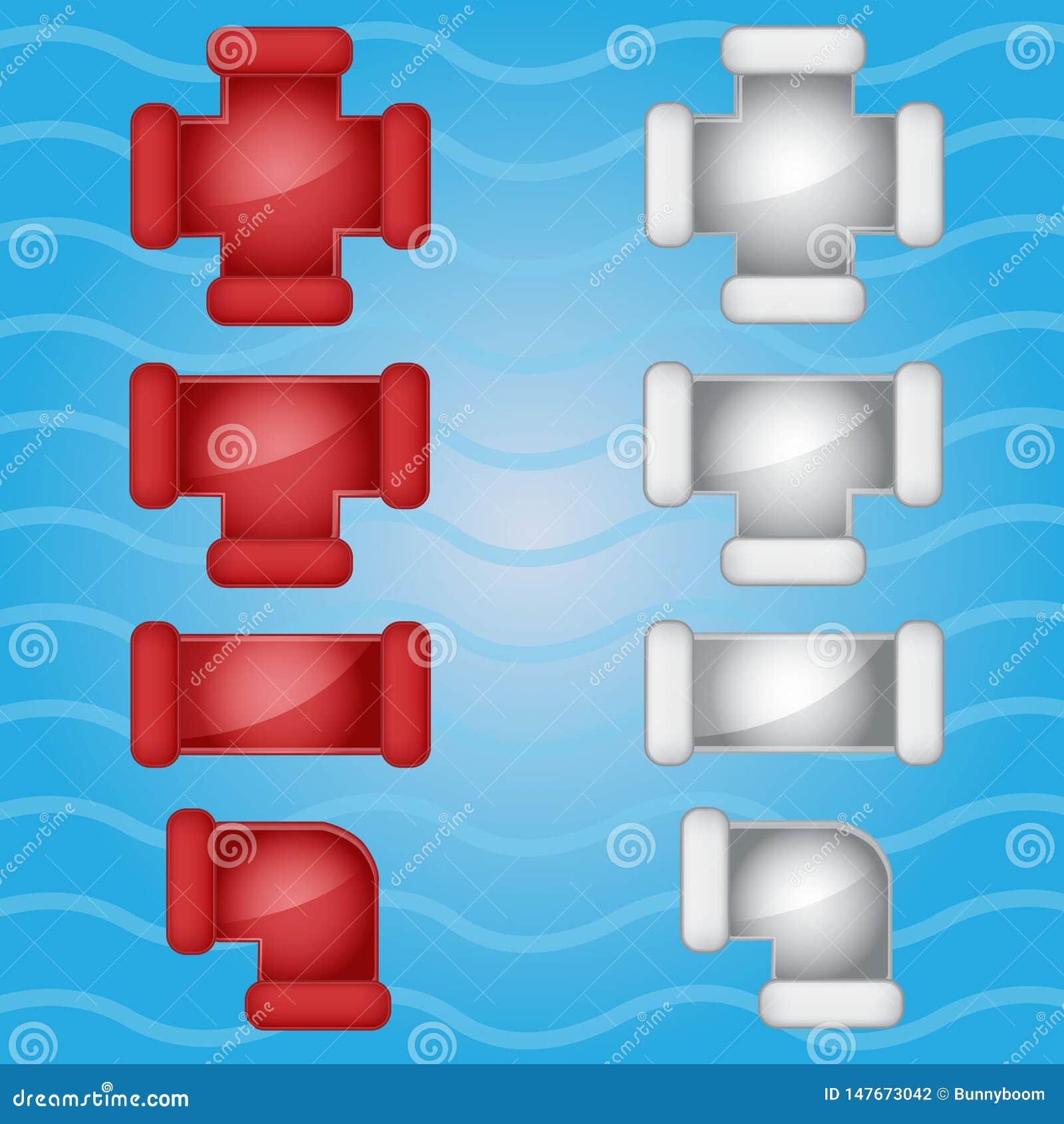 Couleur de tuyauterie de tuyaux rouge et icône grise de sucrerie réglée dans différent