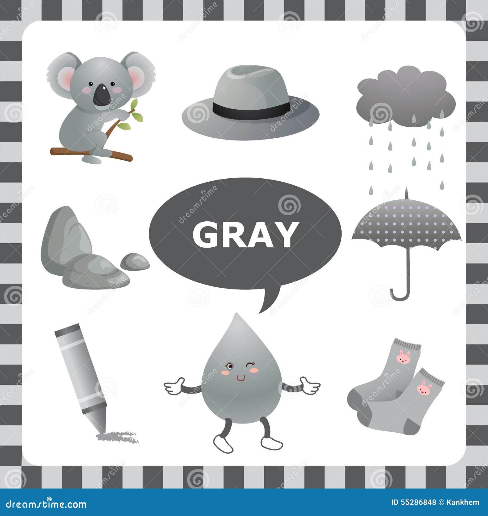 Couleur Qui Sont Des Choses couleur grise illustration de vecteur. illustration du gris - 55286848