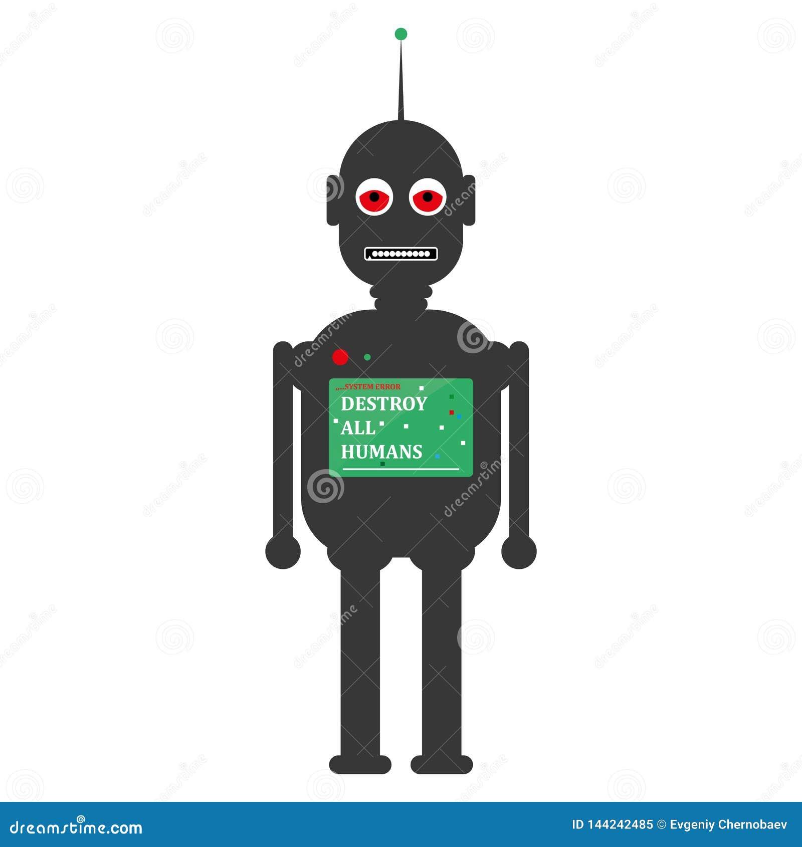 Couleur grise de visage de robot classique fâché de style avec des jambes et des bras et l écran de coffre Vecteur gris eps10 de