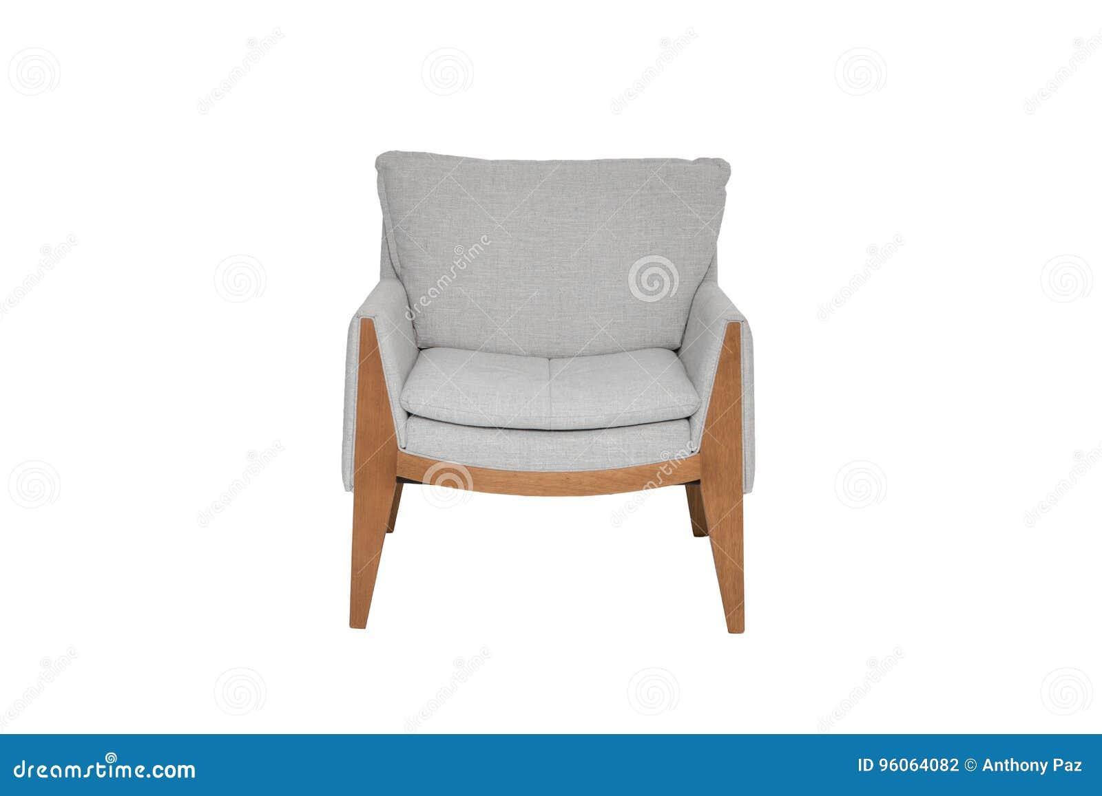 couleur grise et en bois sofa armchair d'isolement sur le fond blanc