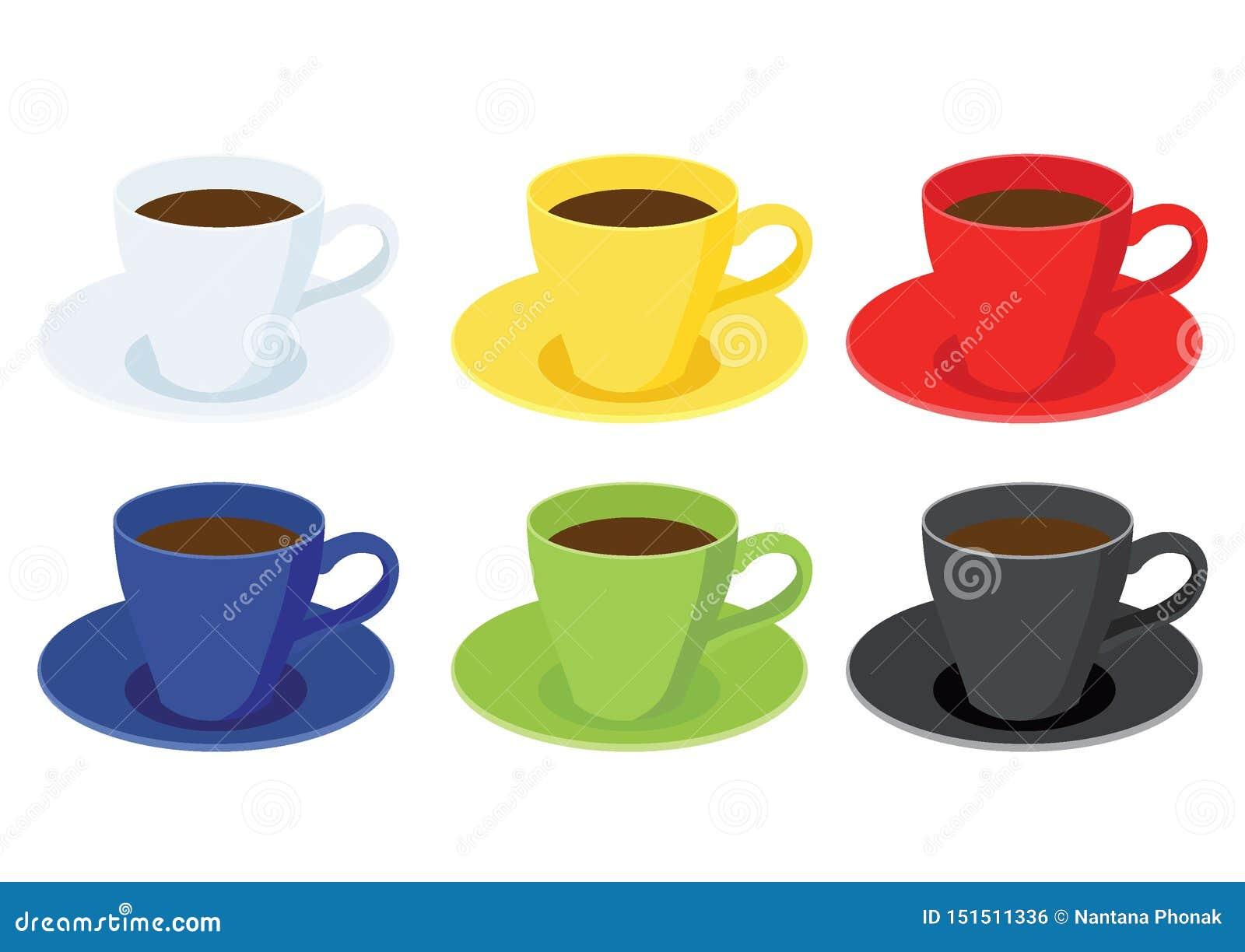 Couleur multi de tasse de café et noir vert bleu rouge jaune blanc de couleur multi de beaucoup de tasses de café
