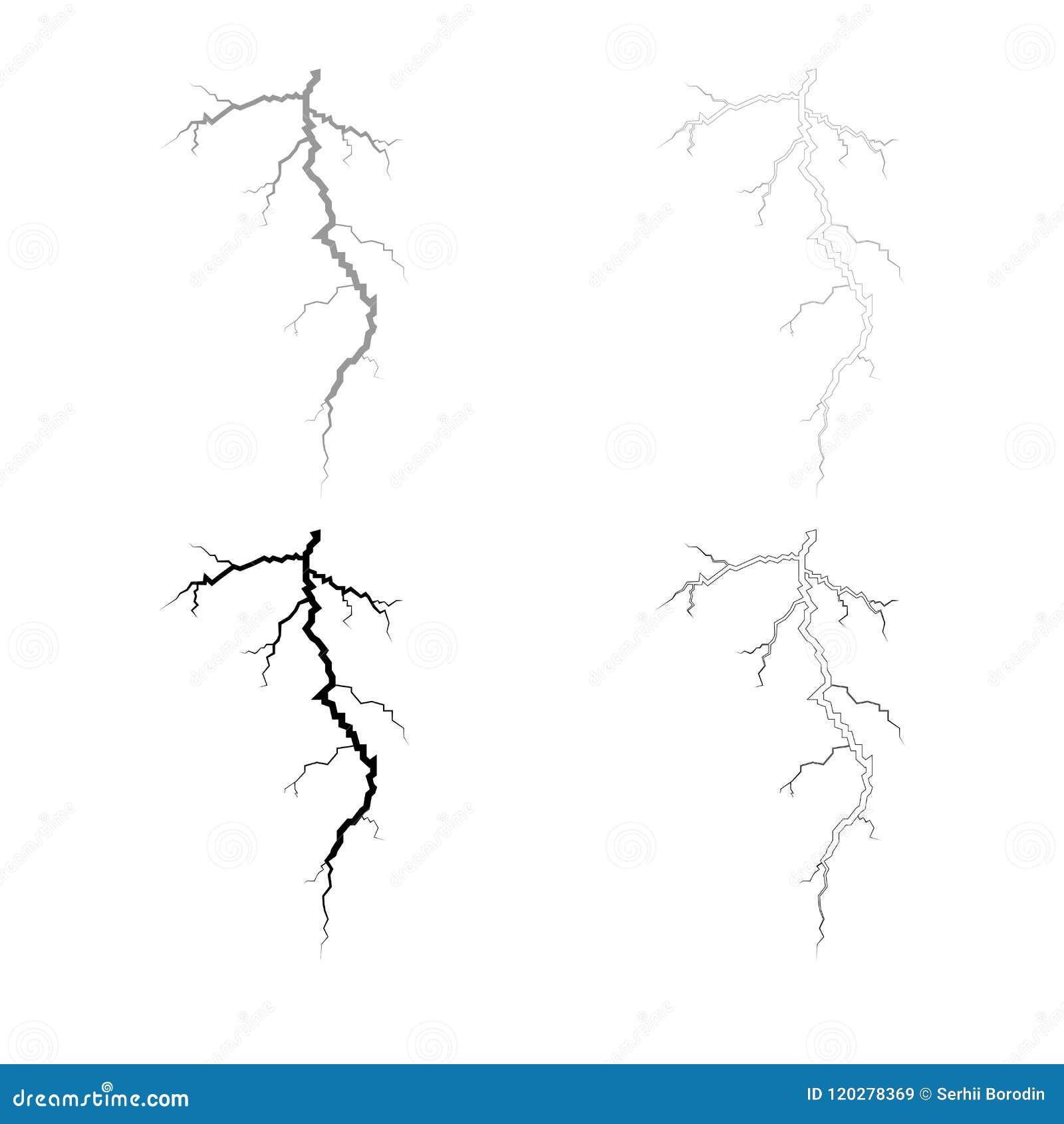 Couleur noire grise réglée d ensemble d icône de fente d orage