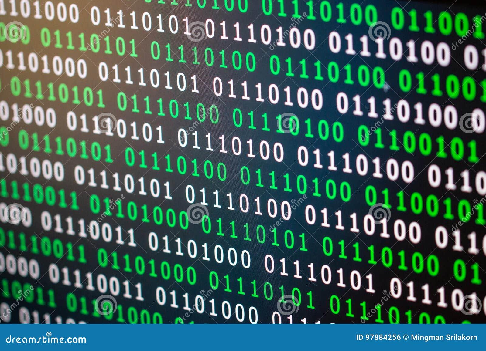 Couleur numérique vert-bleu de code binaire sur le fond noir