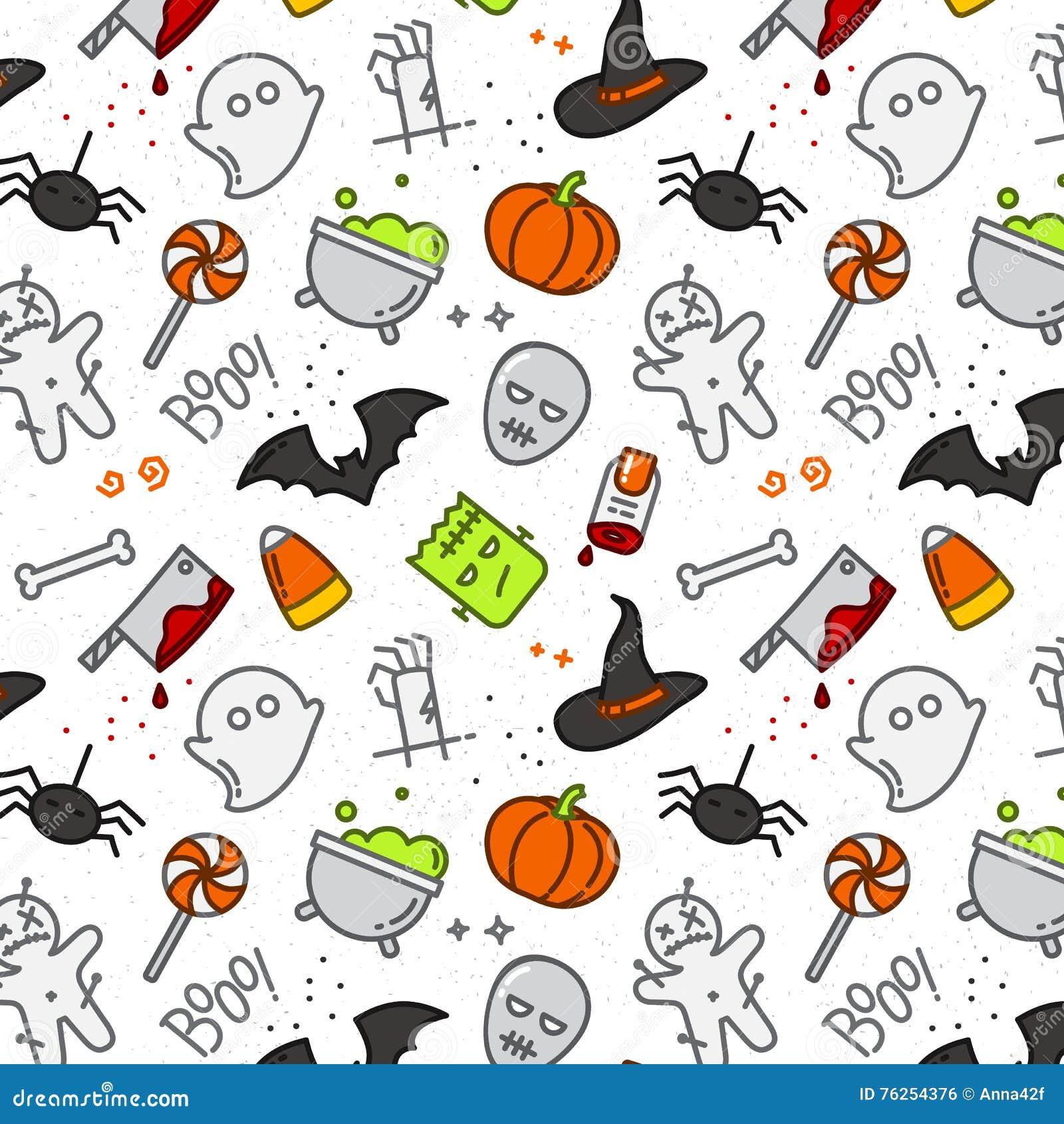 Couleur Plate De Modele De Halloween Illustration De Vecteur