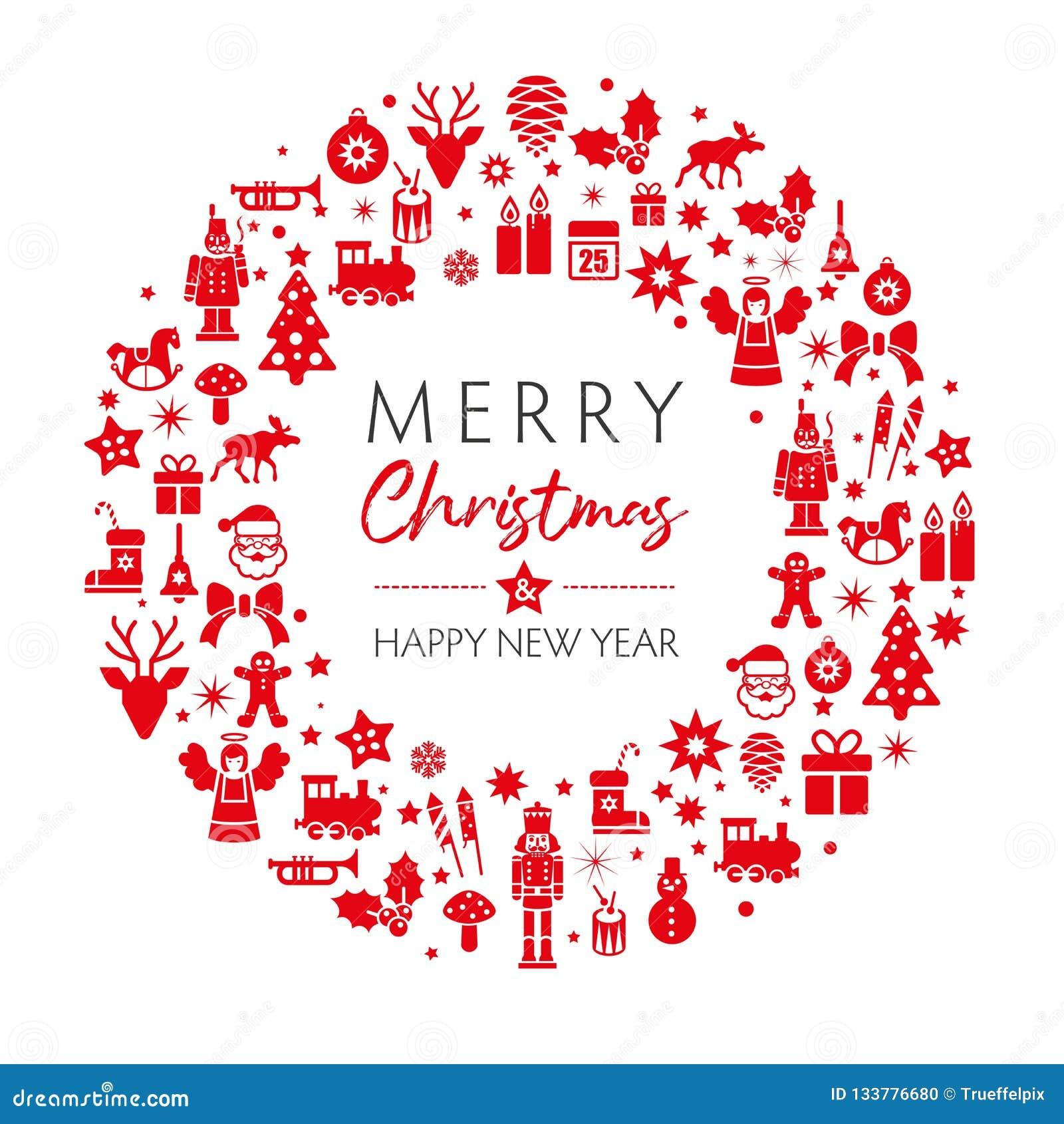 Couleur Rouge De Carte De Voeux De Noël Et De Nouvelle Année