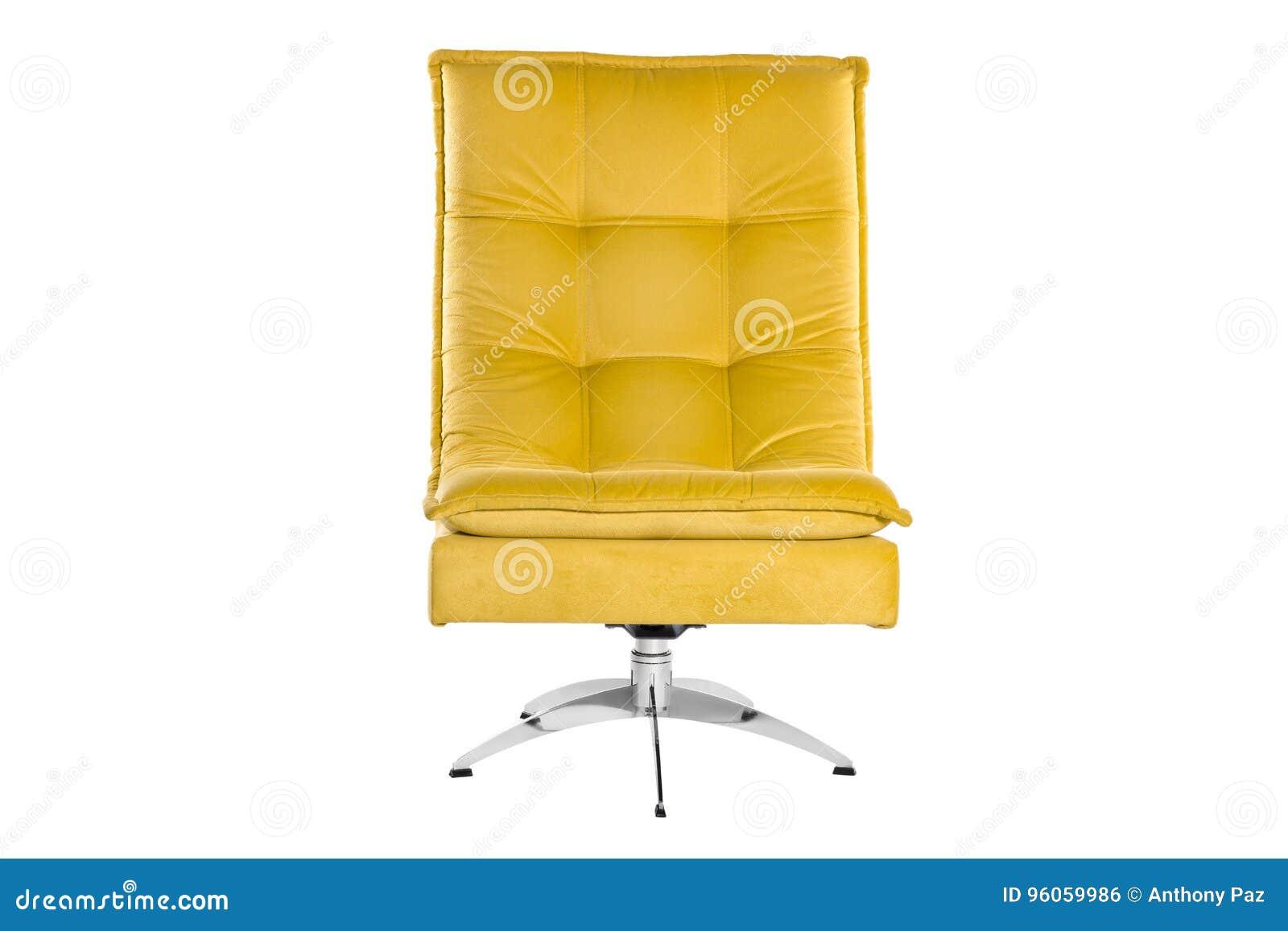 Couleur Sofa Armchair jaune d isolement sur le fond blanc