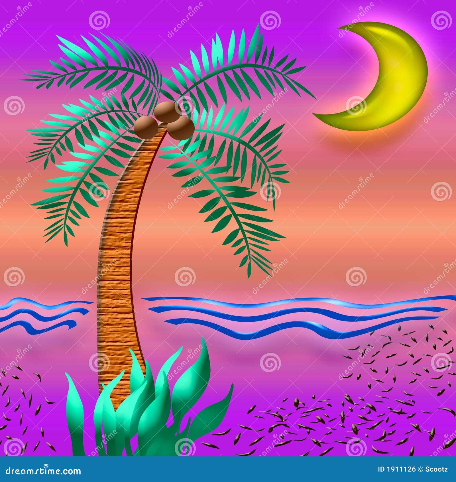 Couleur Tropicale De Coucher Du Soleil Illustration Stock