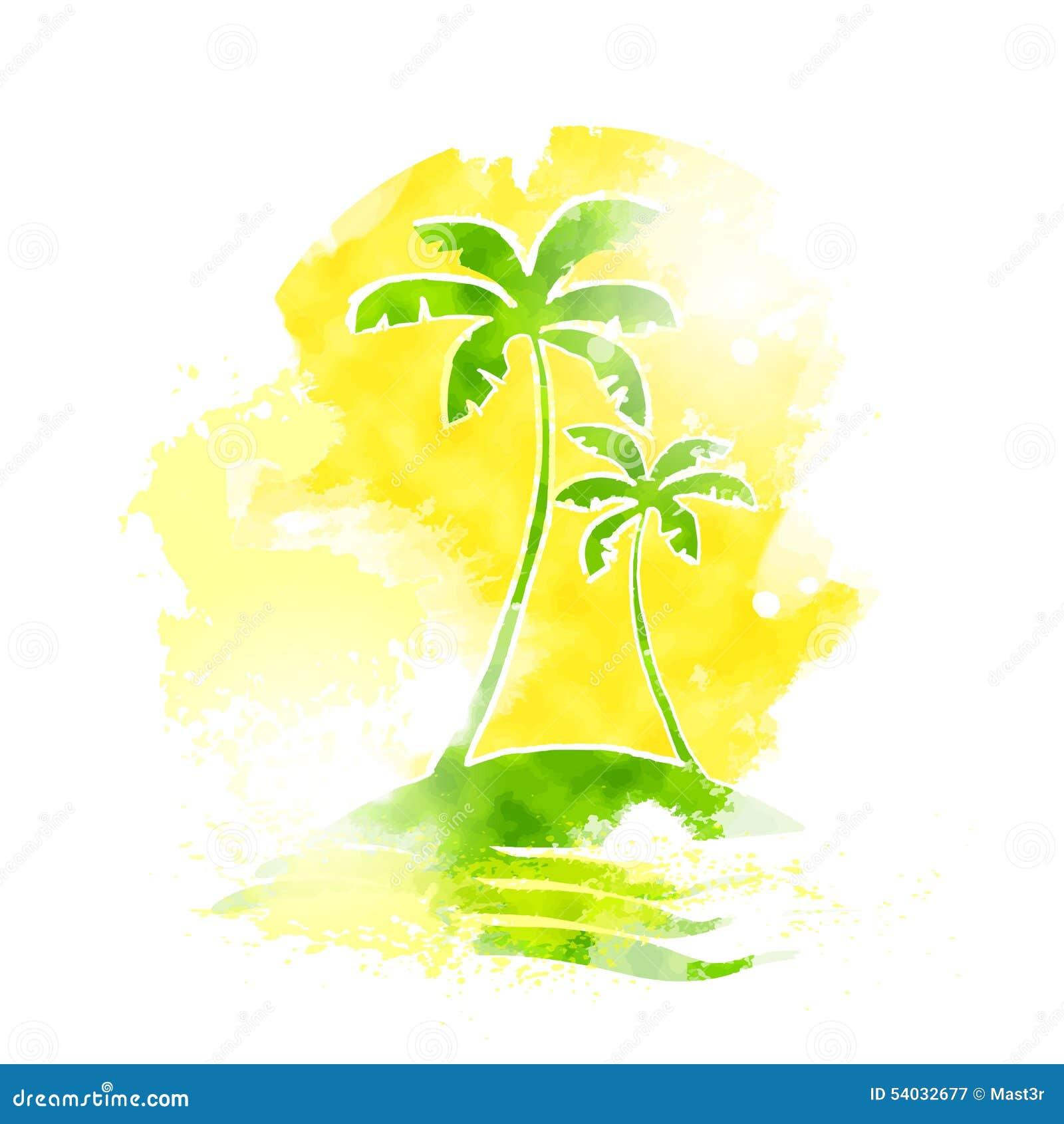 Couleur Tropicale De Grunge De L'eau D'île De Palmier Illustration
